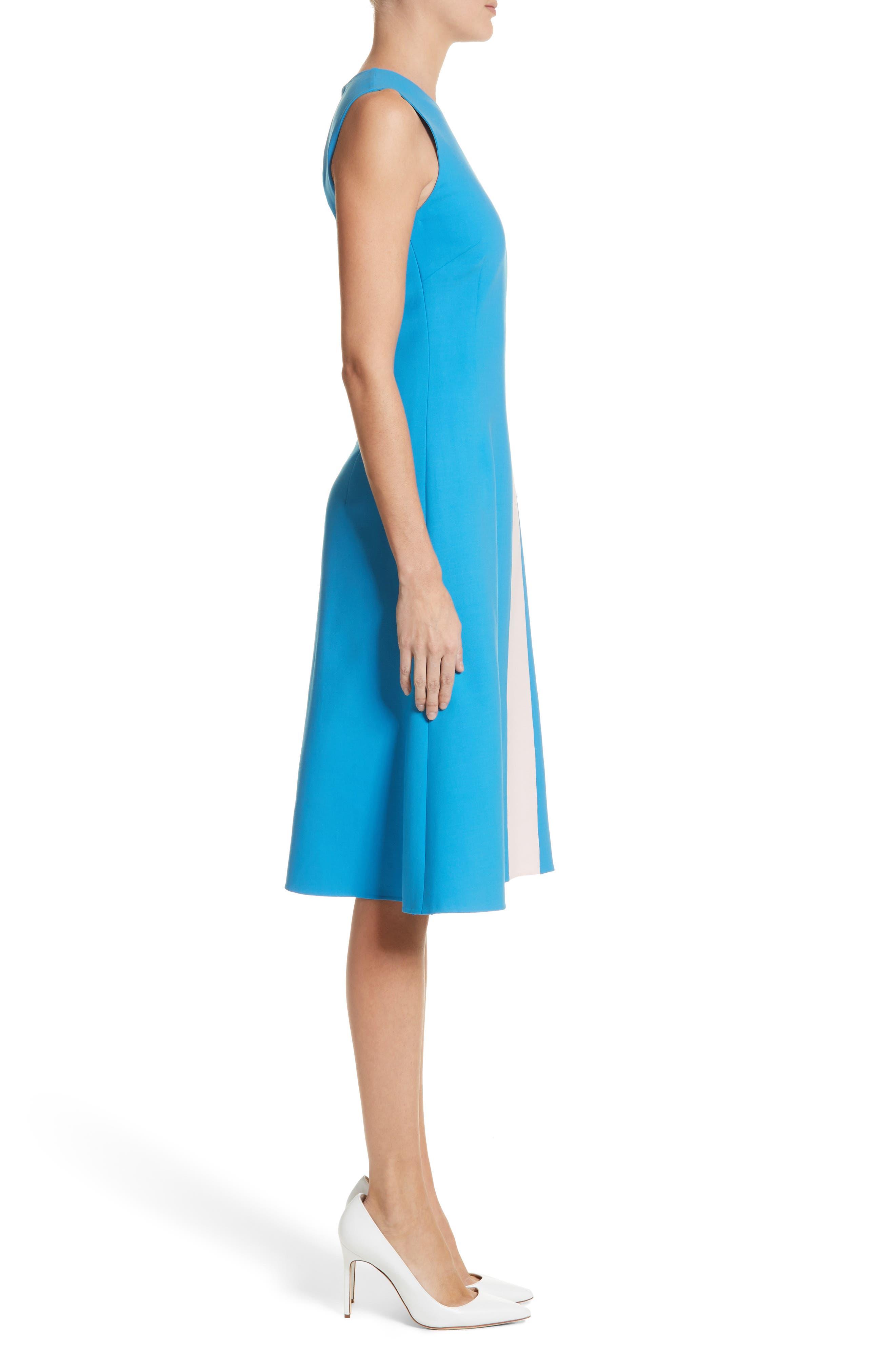 Vertical Stripe Dress,                             Alternate thumbnail 3, color,                             Cerulean/ Lotus Pink