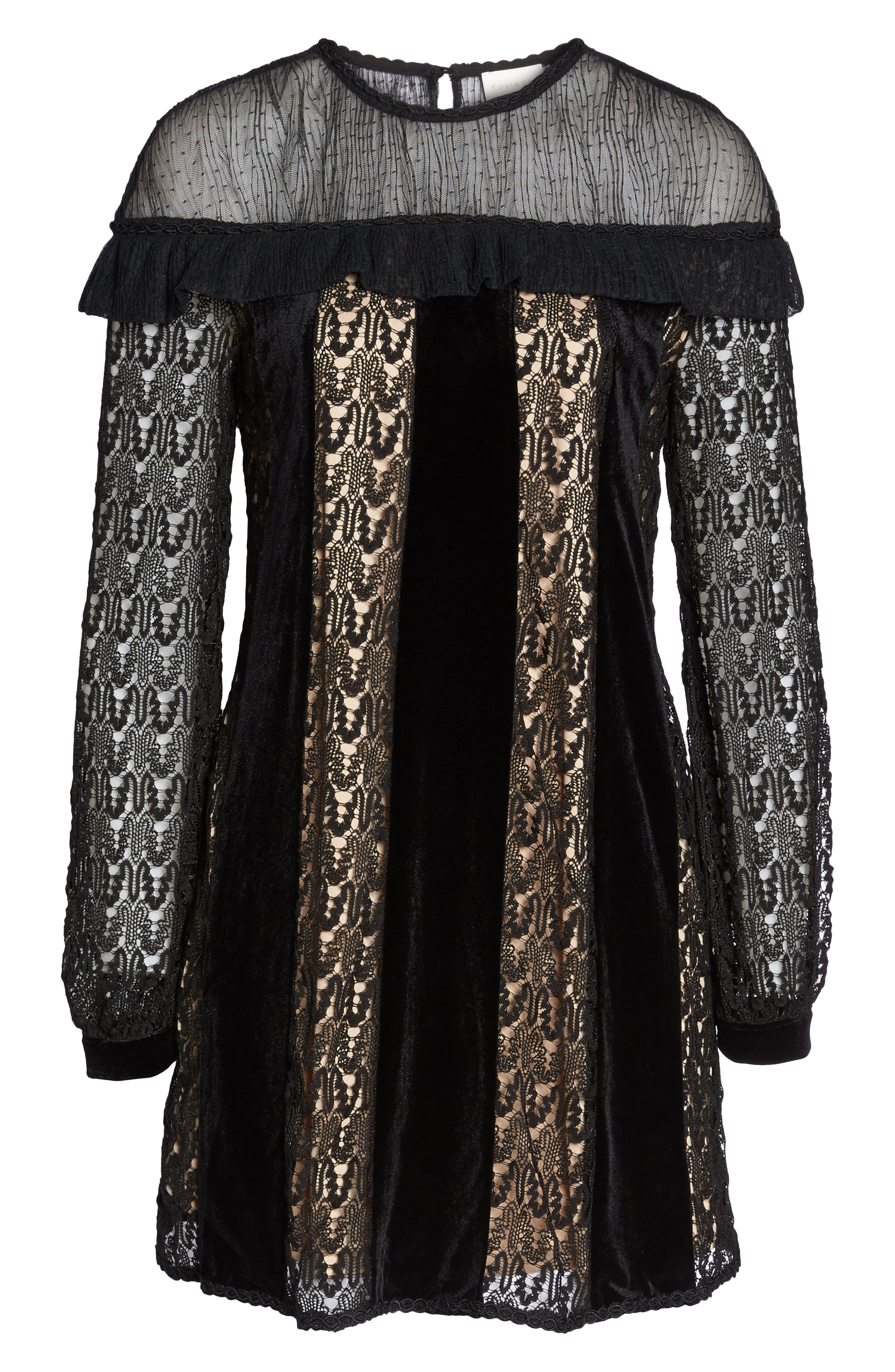 Charli Lace & Velvet Shift Dress,                             Alternate thumbnail 6, color,                             Black