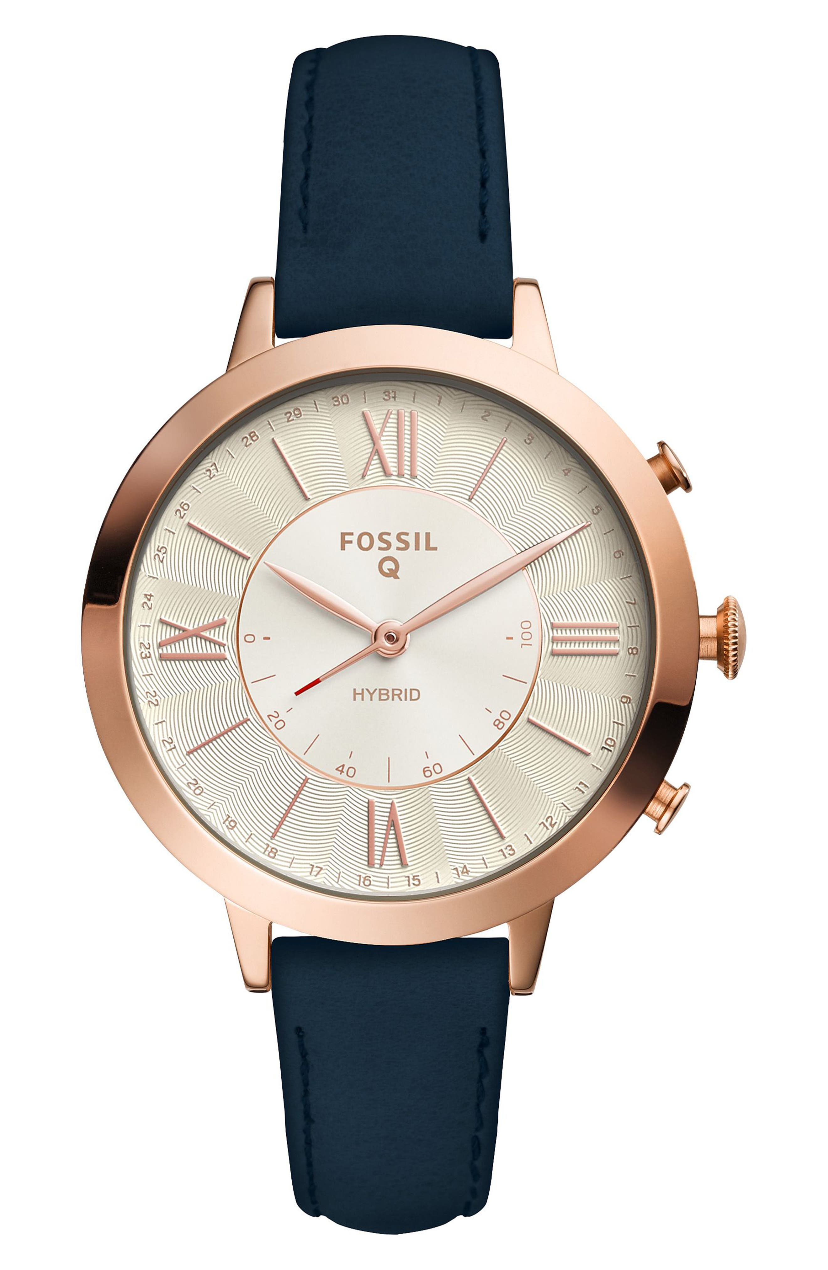 Jacqueline Leather Strap Hybrid Smart Watch, 36mm,                         Main,                         color, Blue/ White/ Rose Gold