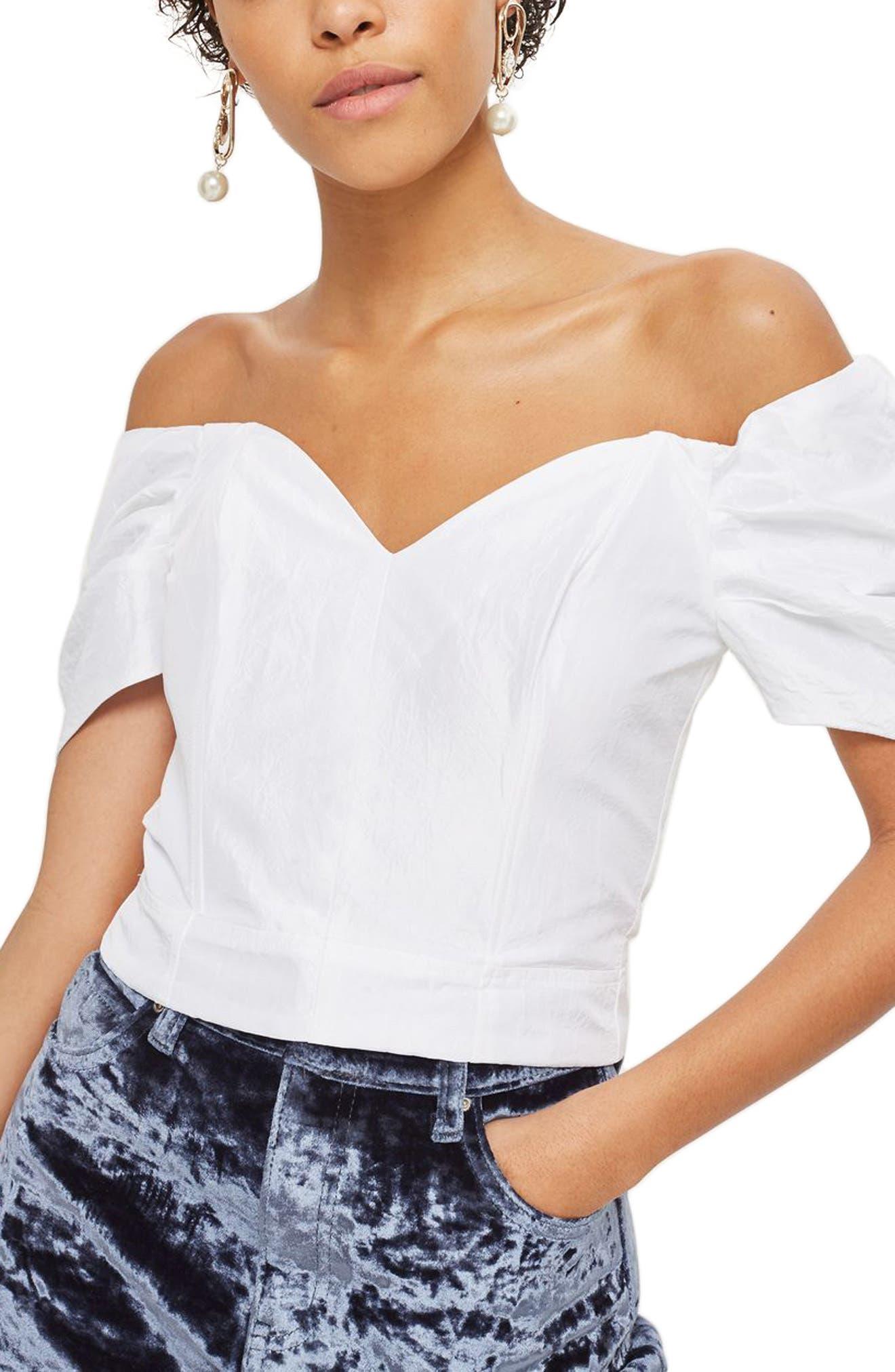 Main Image - Topshop Puff Sleeve Taffeta Off the Shoulder Top