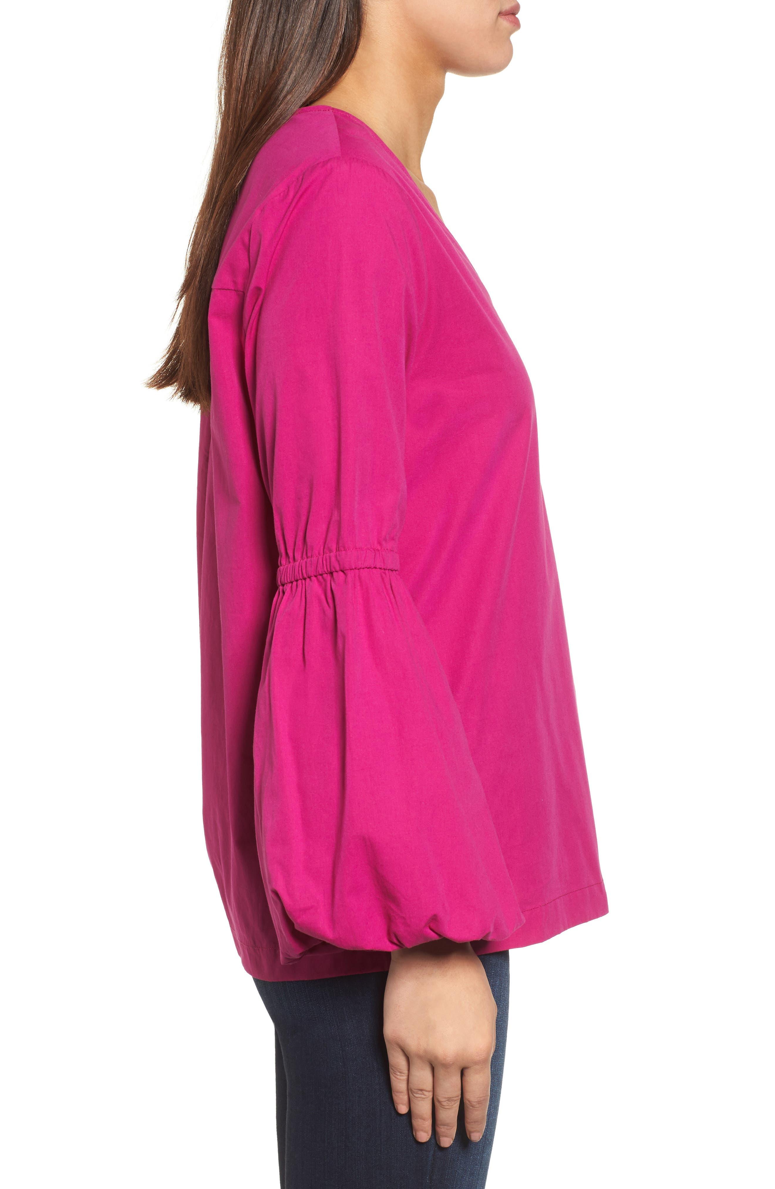 Alternate Image 3  - Halogen® V-Neck Blouson Sleeve Top