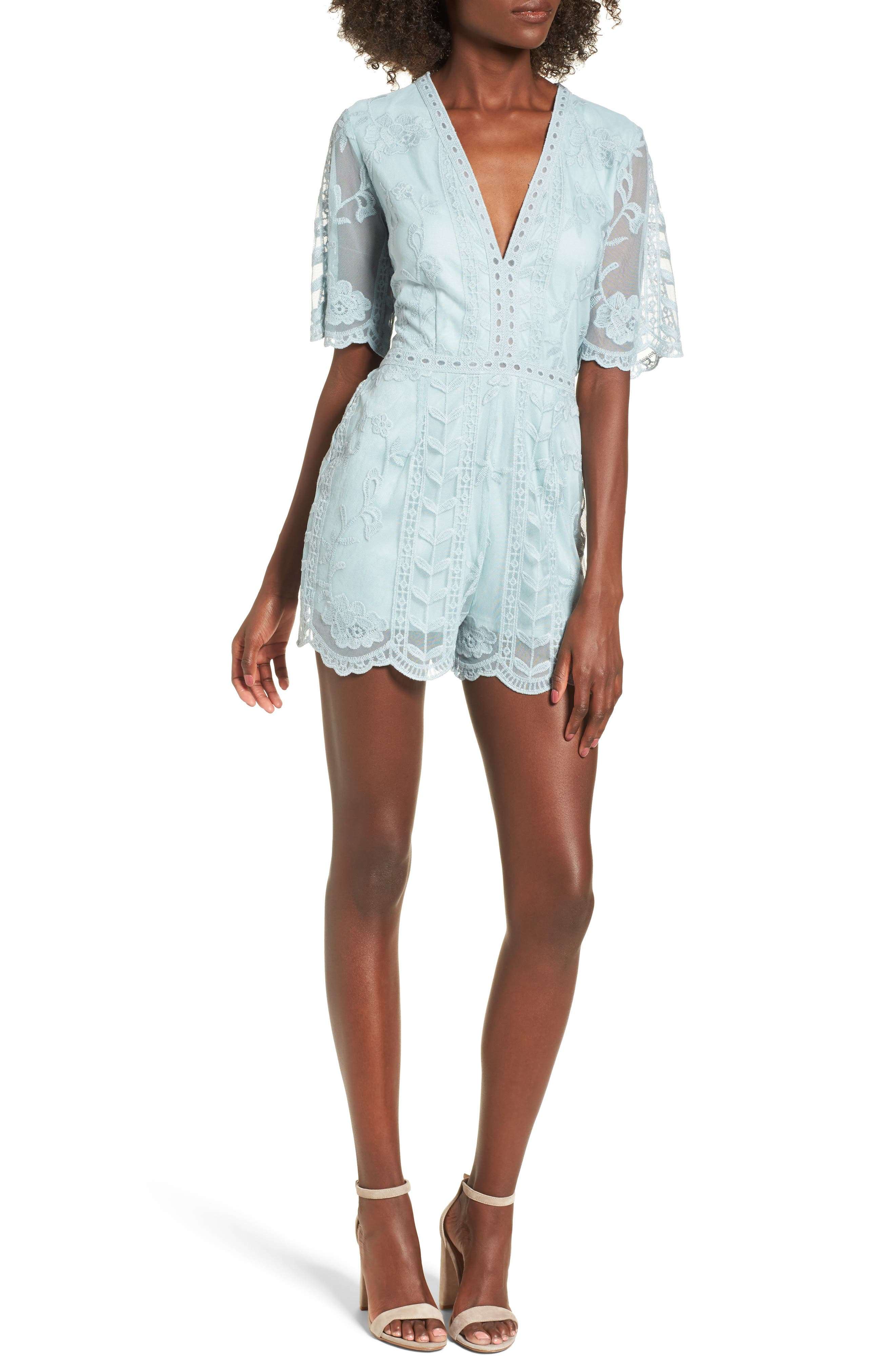 Plunging Lace Romper,                         Main,                         color, Mint