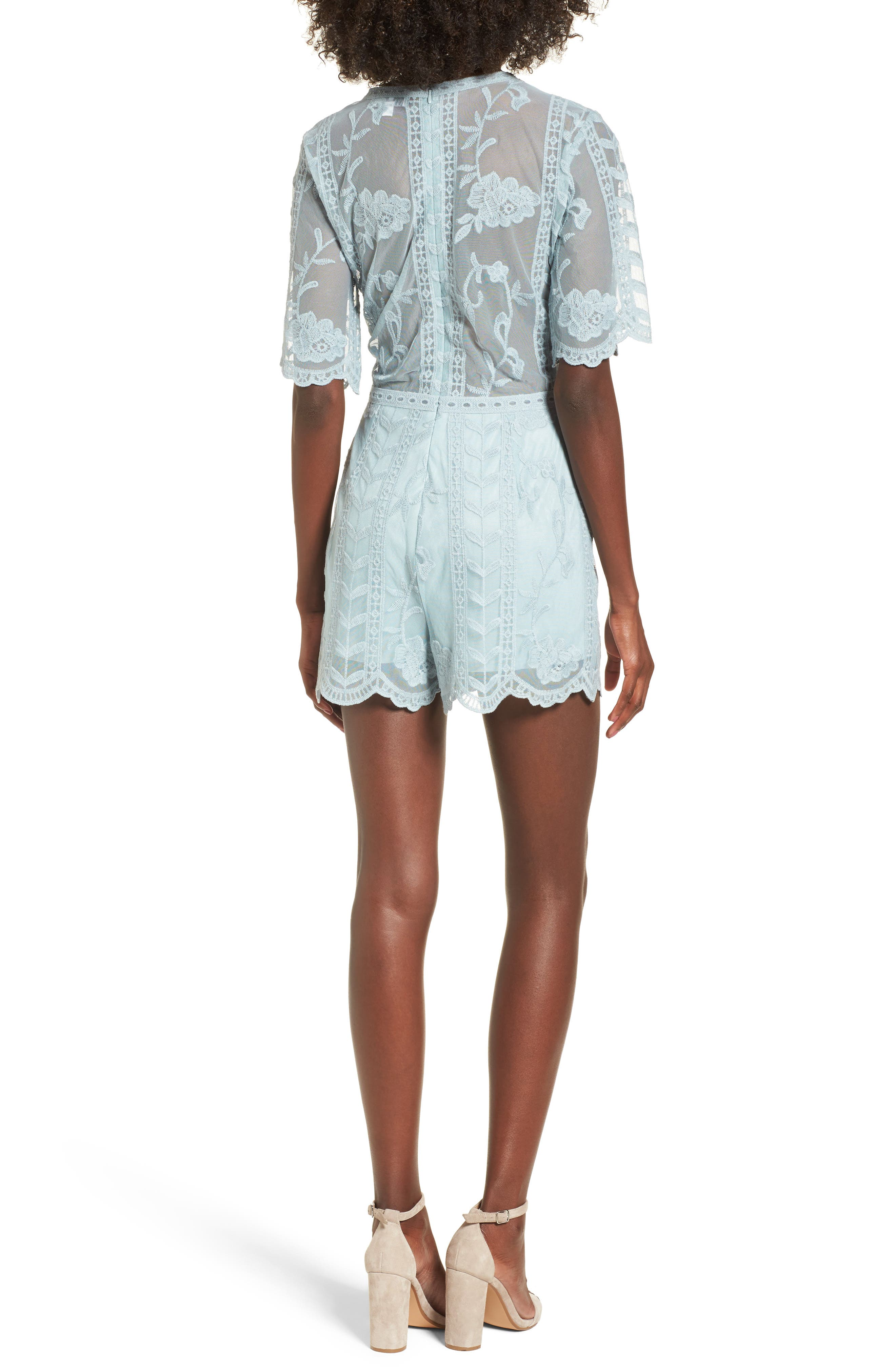 Plunging Lace Romper,                             Alternate thumbnail 2, color,                             Mint