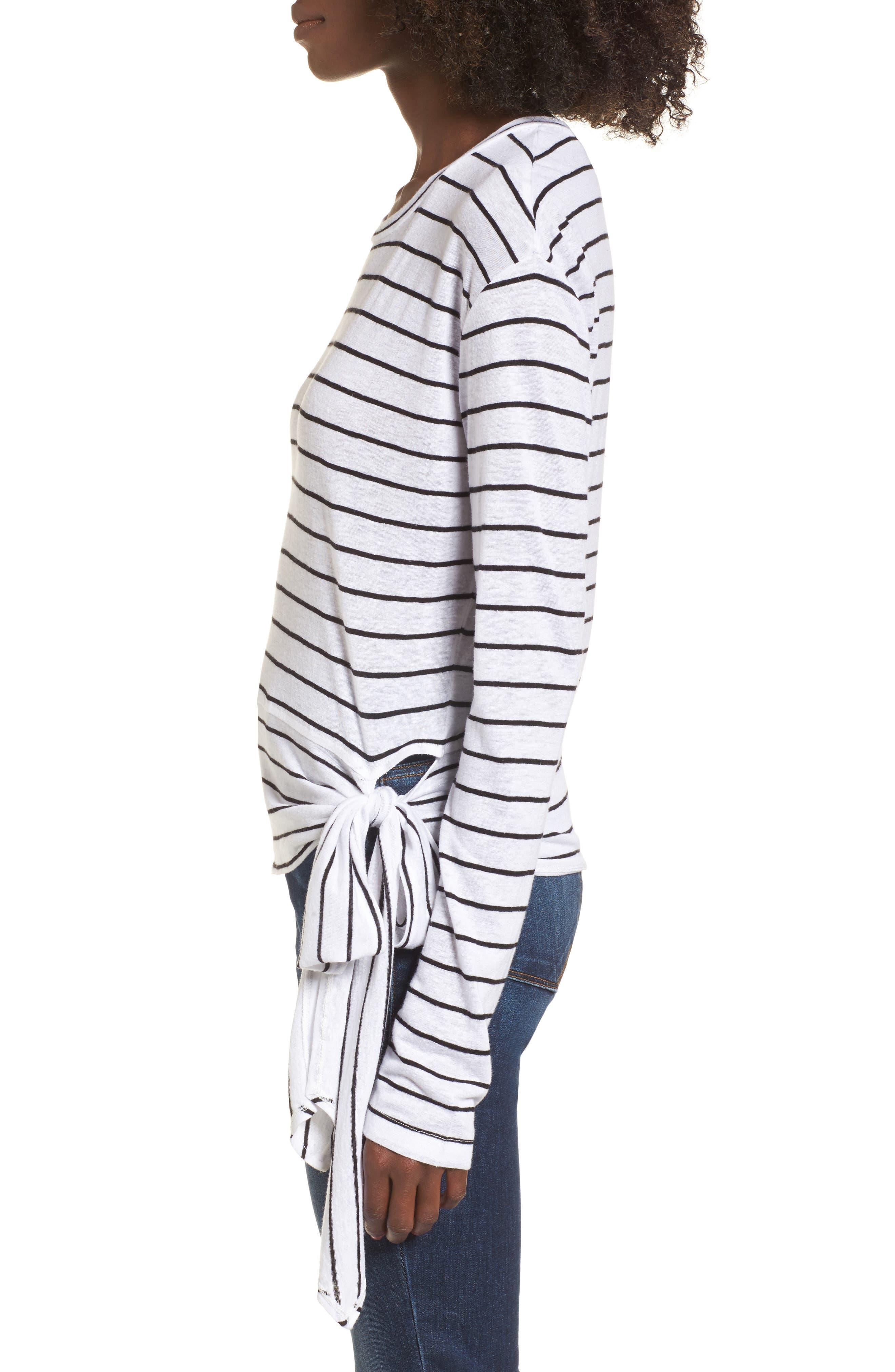 Side Tie Stripe Tee,                             Alternate thumbnail 3, color,                             White Jenna Stripe