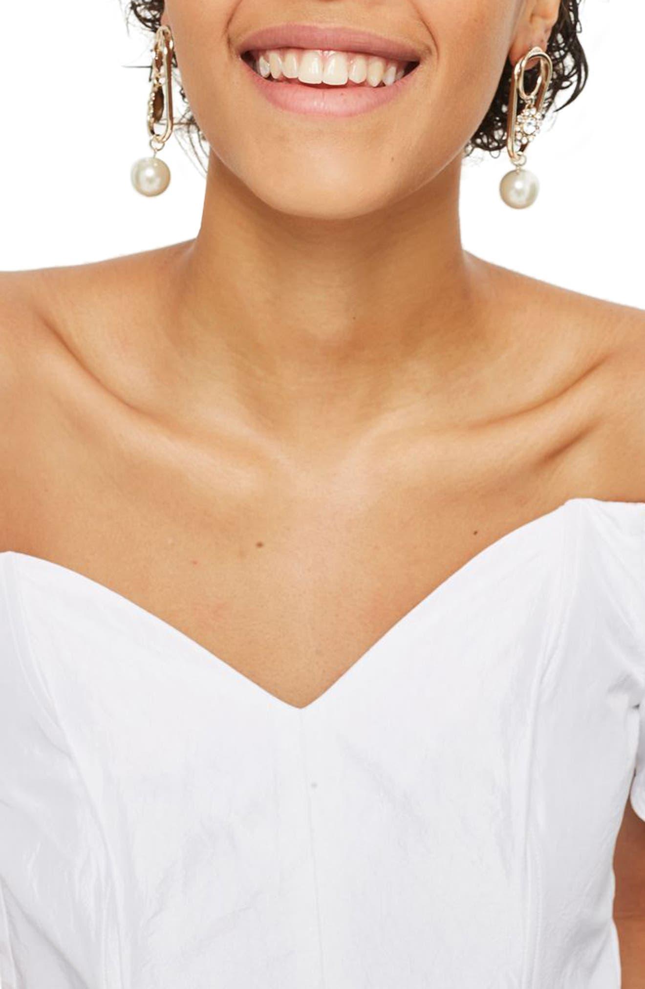 Alternate Image 3  - Topshop Puff Sleeve Taffeta Off the Shoulder Top