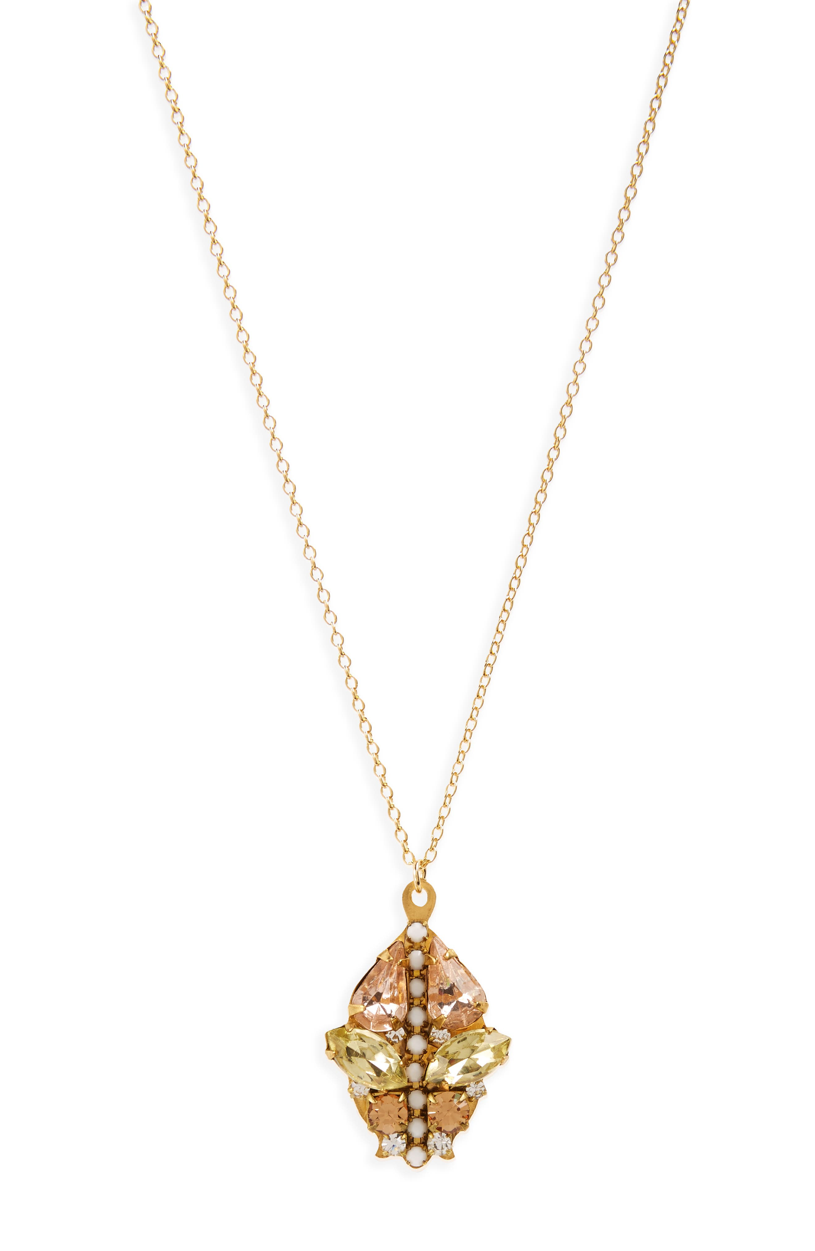 Mixed Crystal Pendant Necklace,                         Main,                         color, Gold/ Crystal