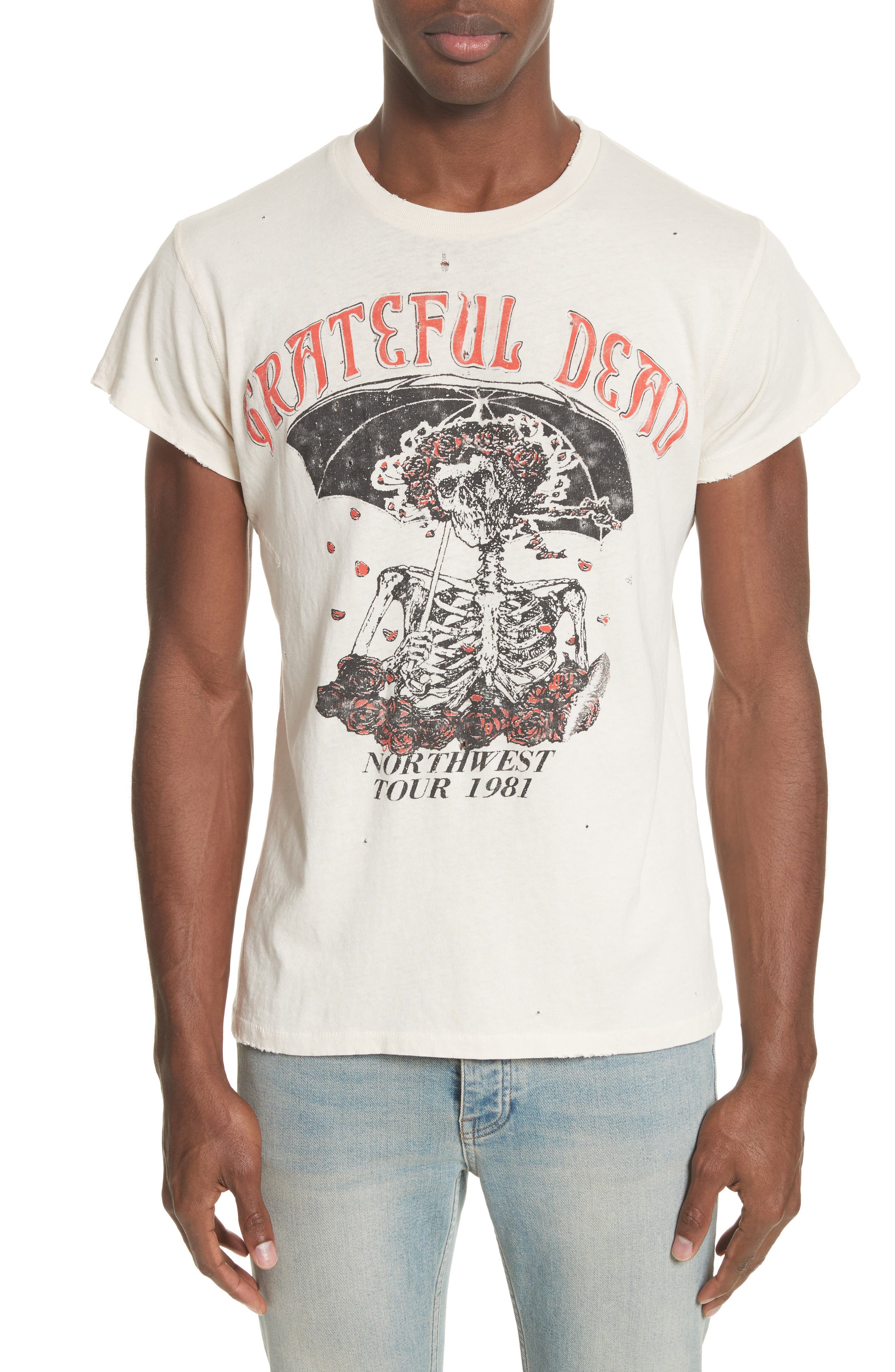 Grateful Dead Skeleton Graphic T-Shirt,                         Main,                         color, Dirty White