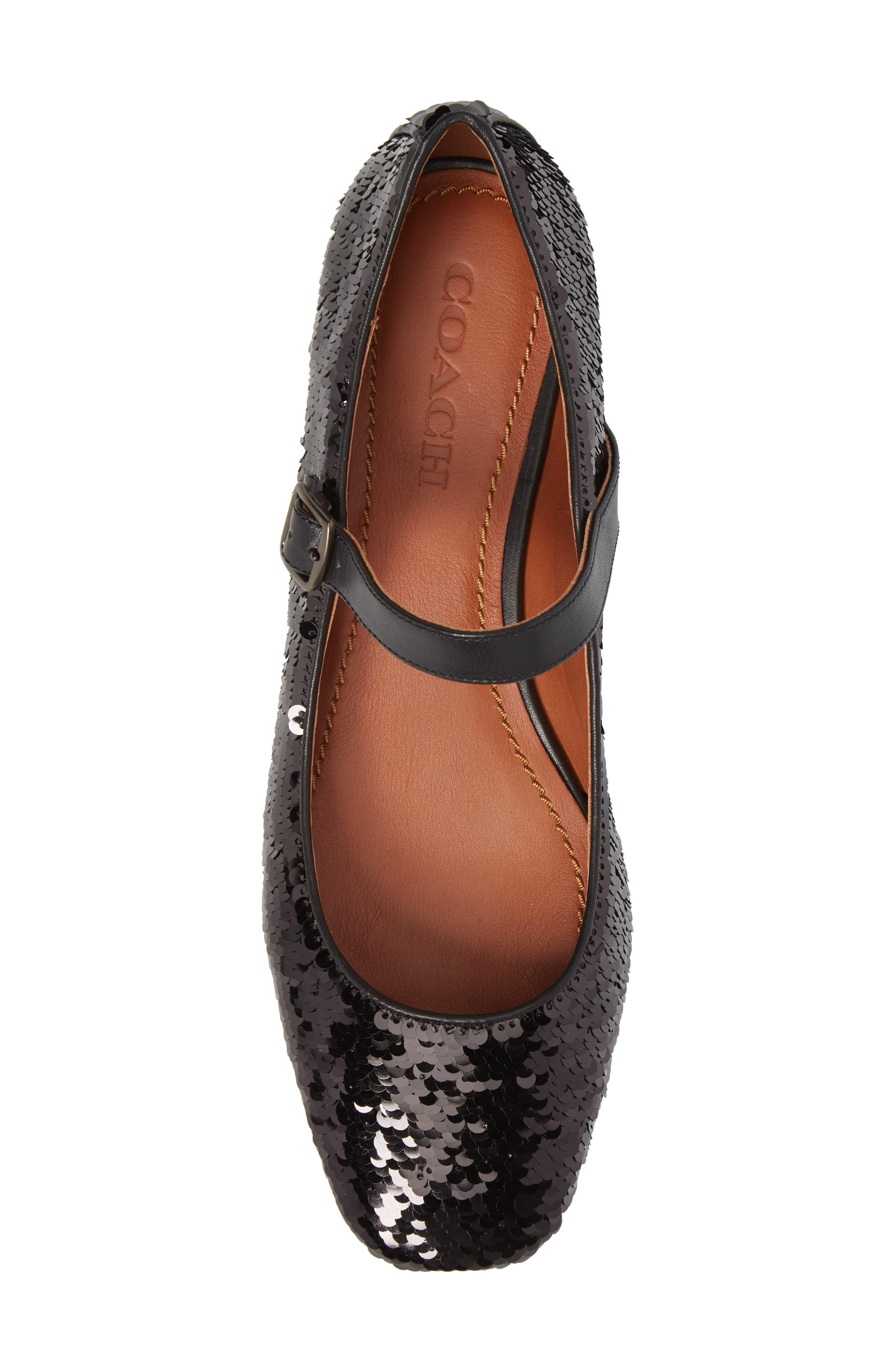 Mary Jane Flat,                             Alternate thumbnail 5, color,                             Black Sequin Fabric