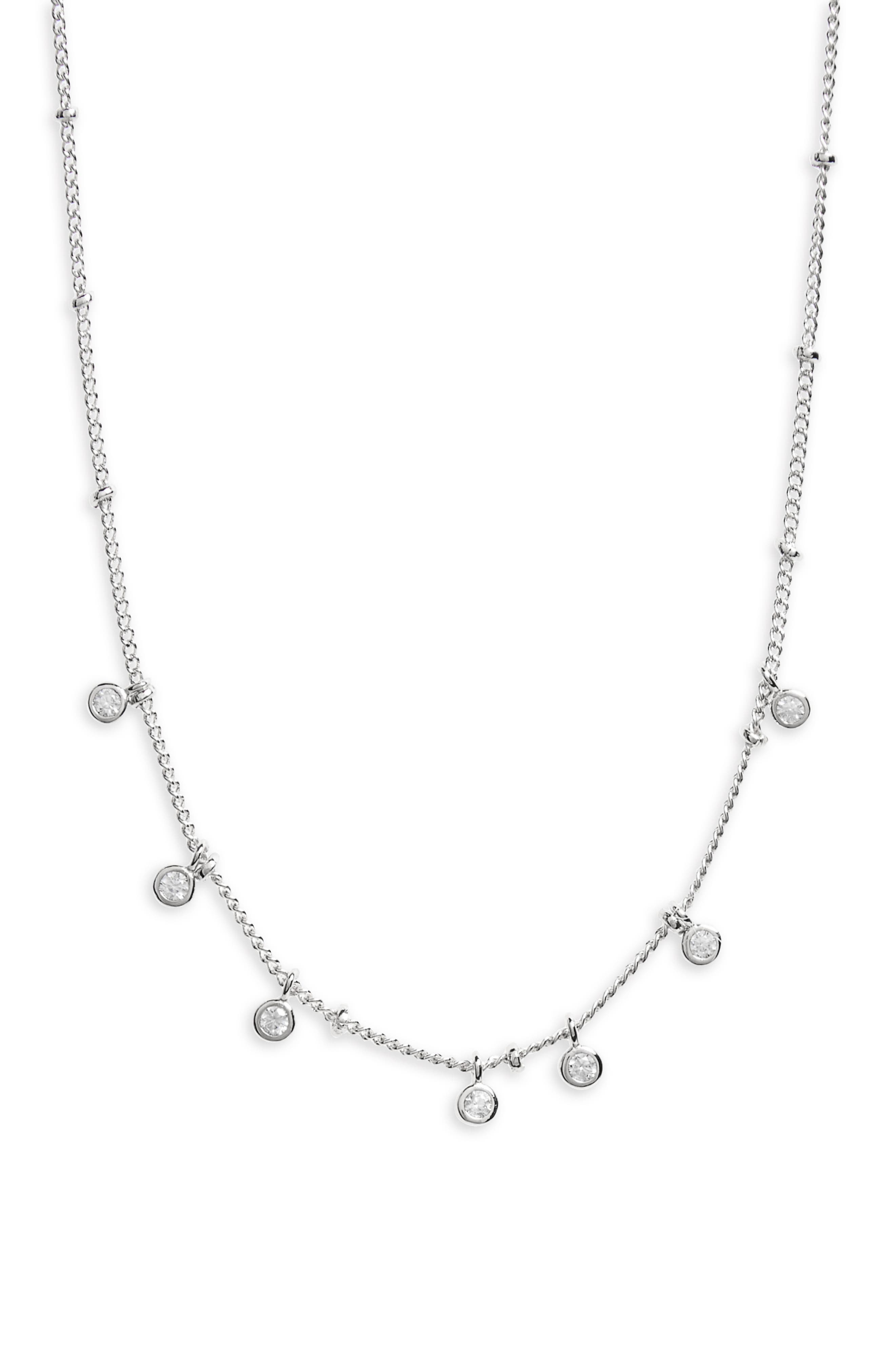Floating Disc Collar Necklace,                         Main,                         color, Silver