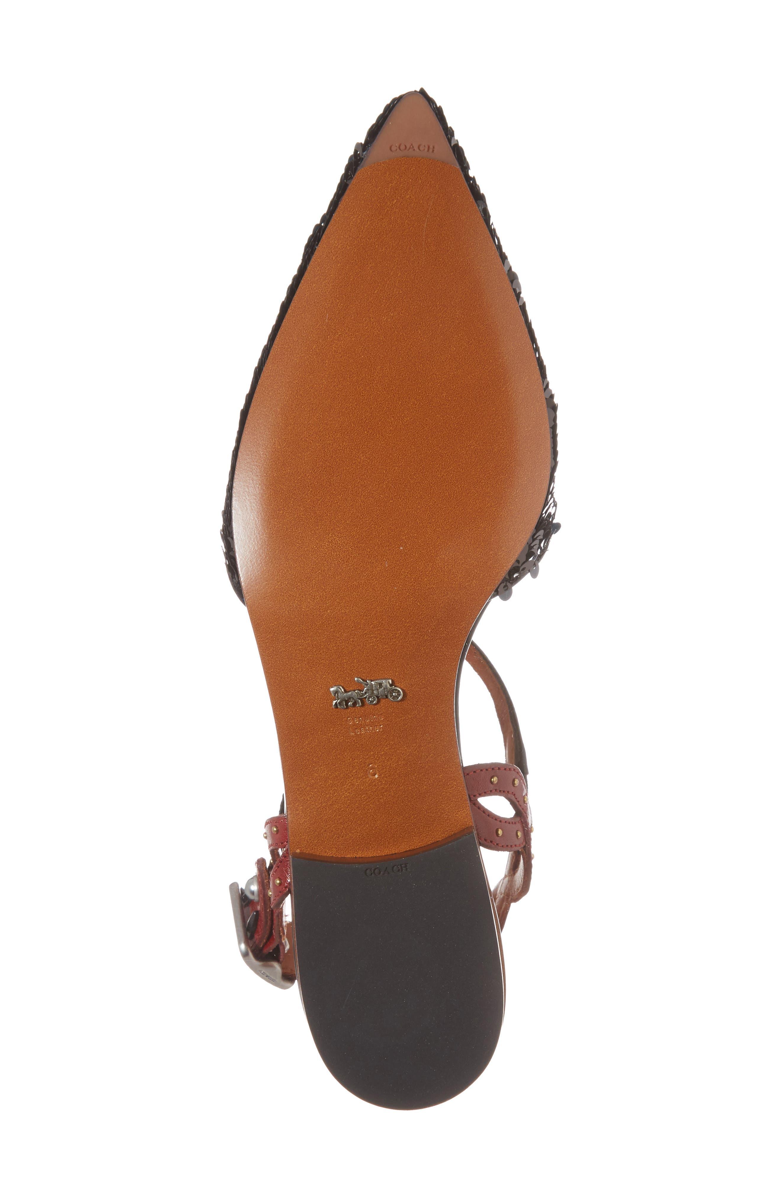 Sequin Slingback Flat,                             Alternate thumbnail 6, color,                             Black/ Wine Leather