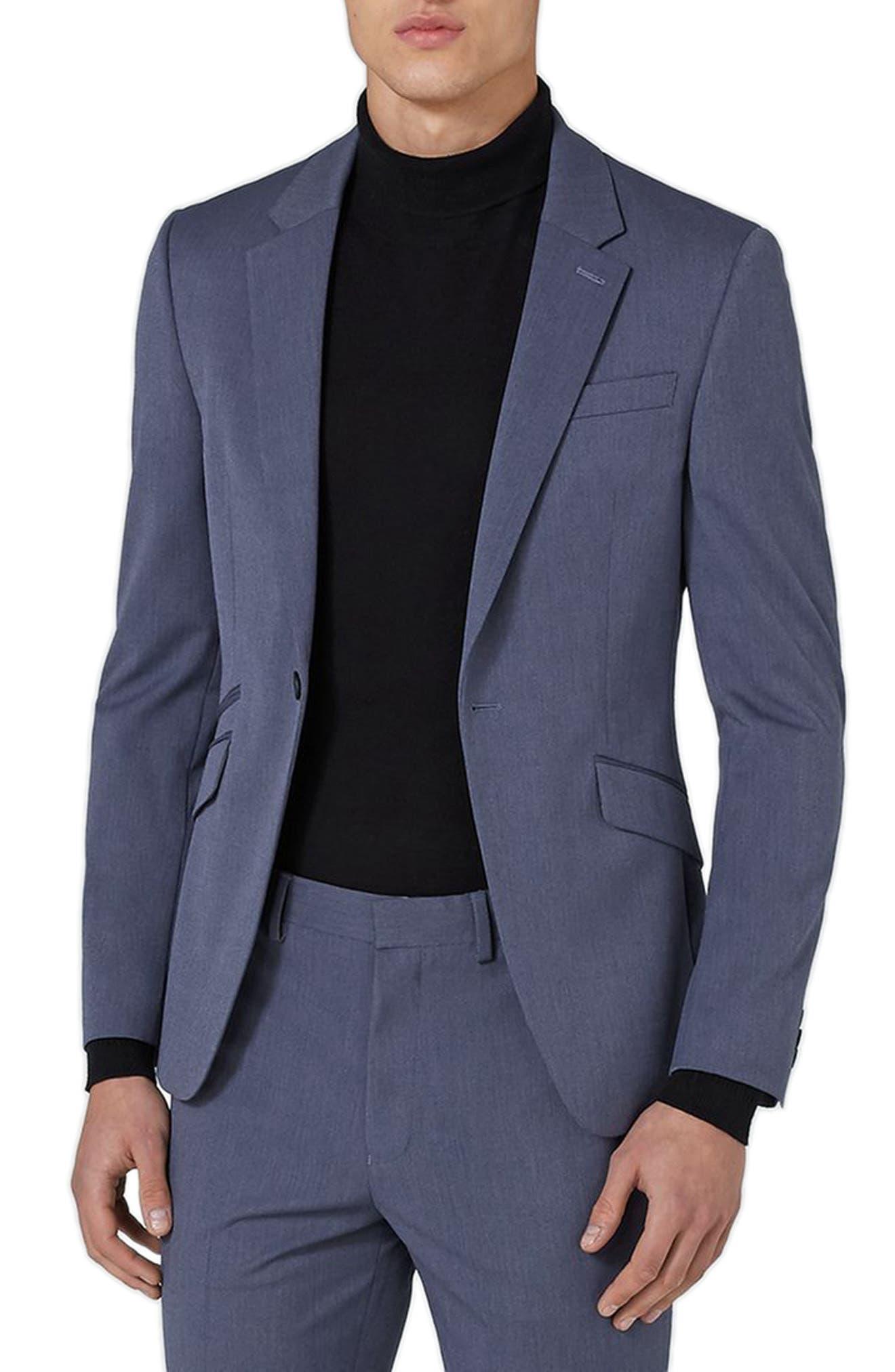 Muscle Fit Suit Jacket,                         Main,                         color, Mid Blue