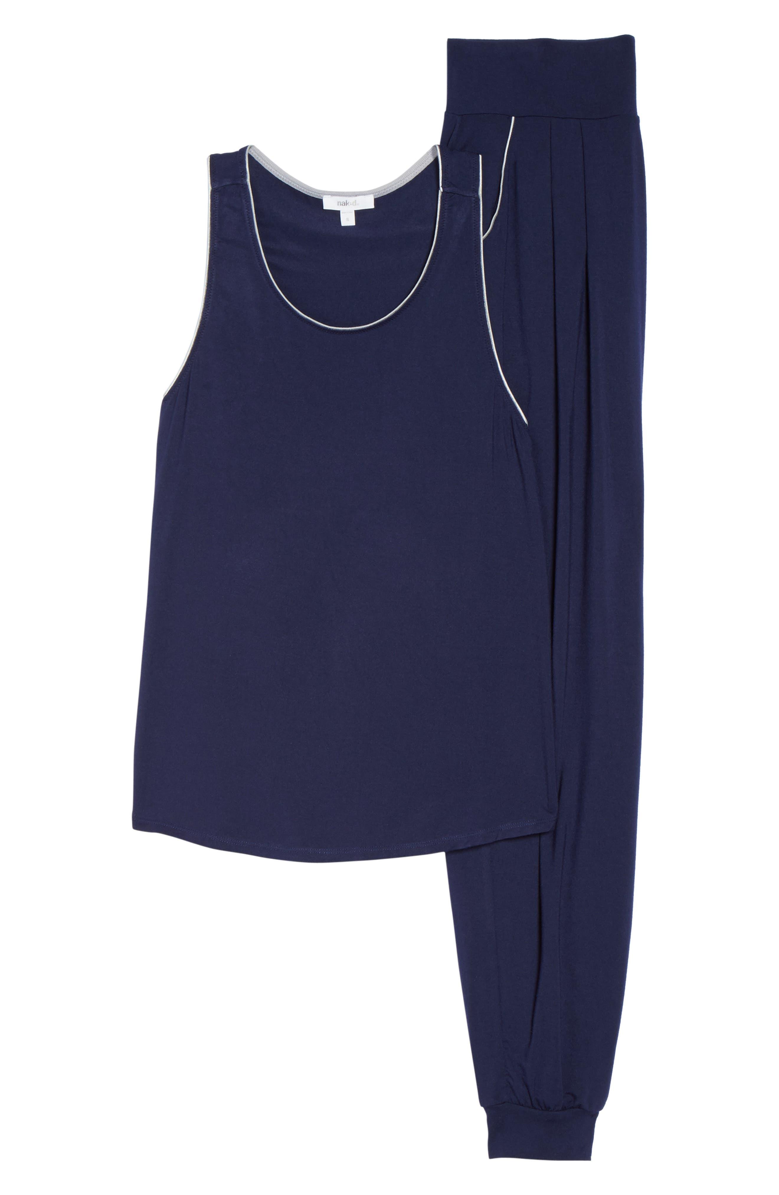 Tank Pajamas,                             Alternate thumbnail 4, color,                             Peacoat