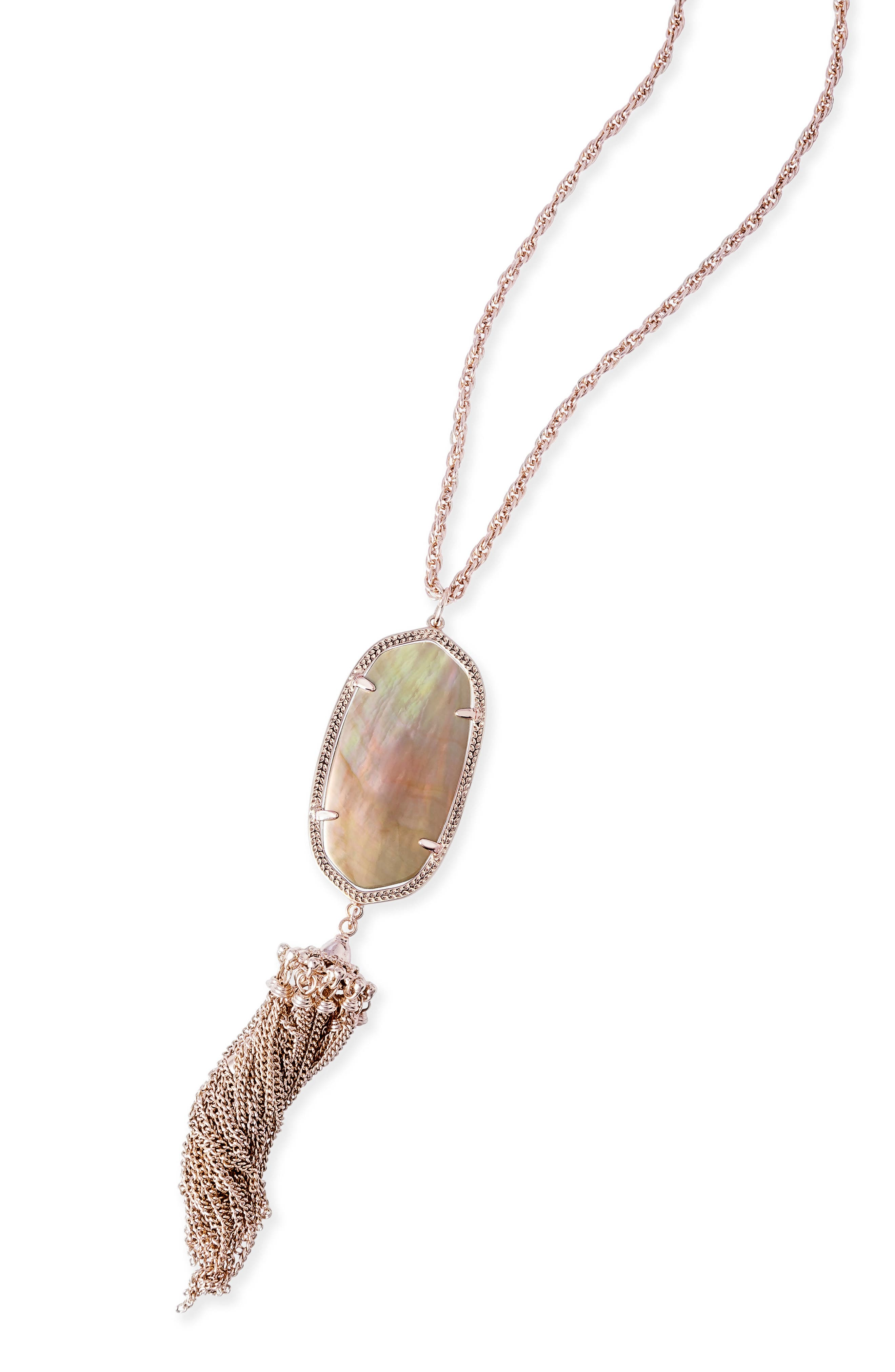 Rayne Stone Tassel Pendant Necklace,                             Main thumbnail 1, color,                             Brown Mop/ Rose Gold