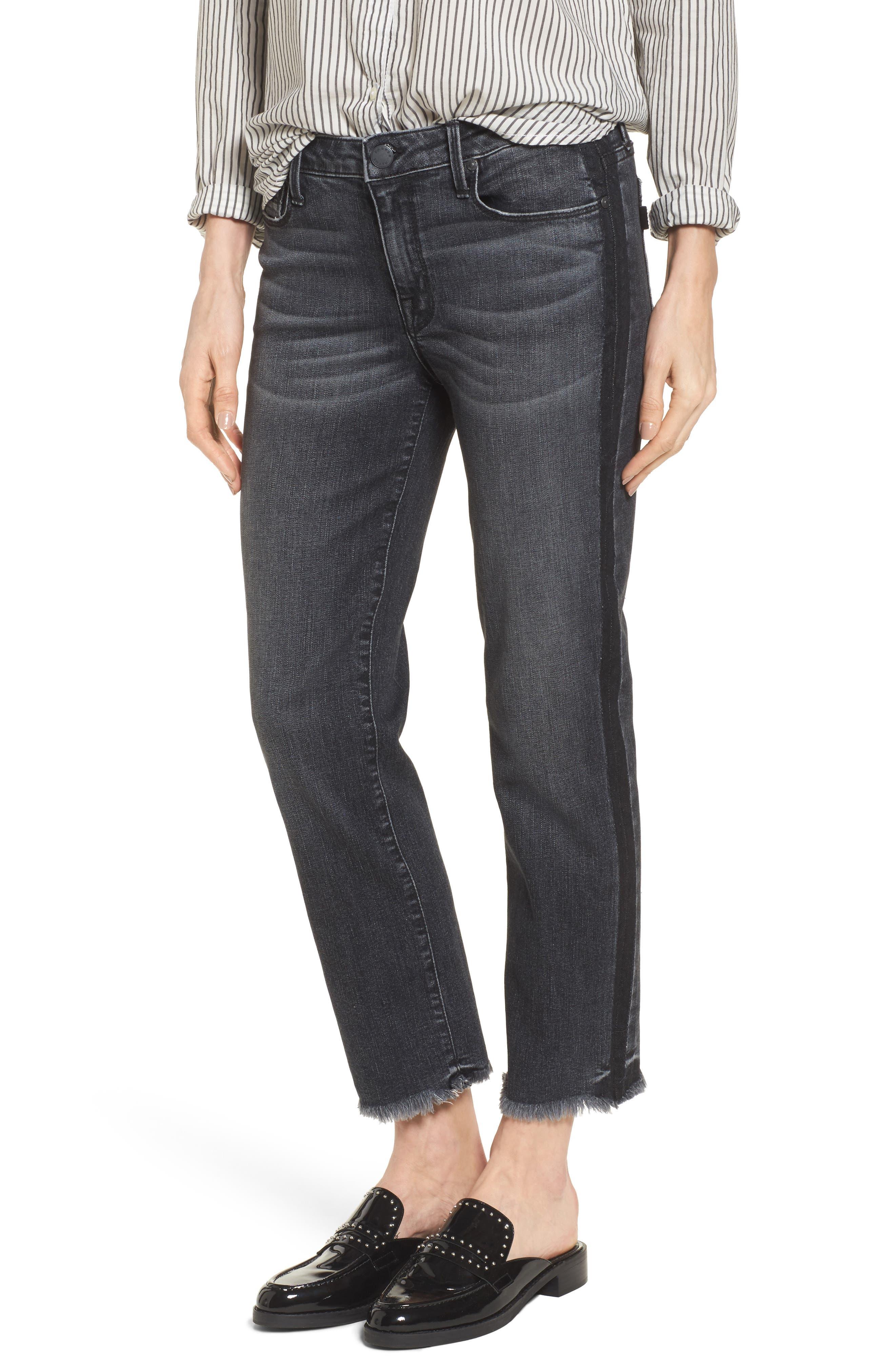 Straight Leg Crop Jeans,                         Main,                         color, Black Crush
