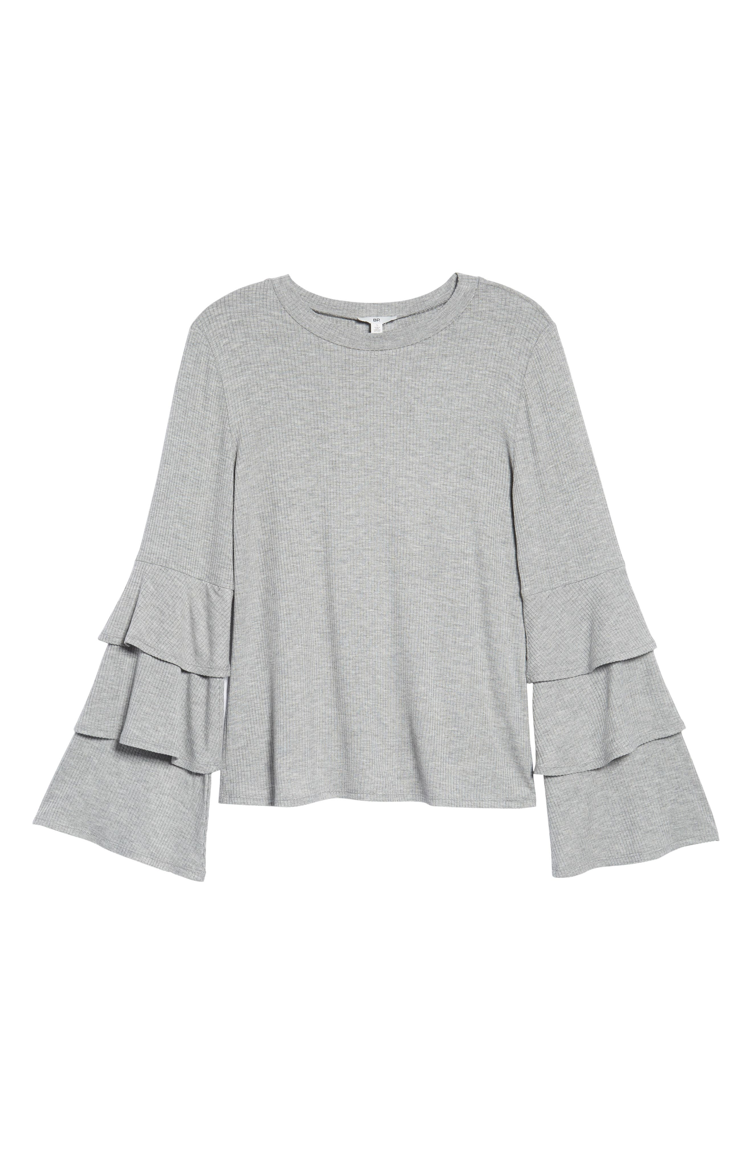 Ruffle Sleeve Ribbed Sweater,                             Alternate thumbnail 6, color,                             Grey Medium Heather
