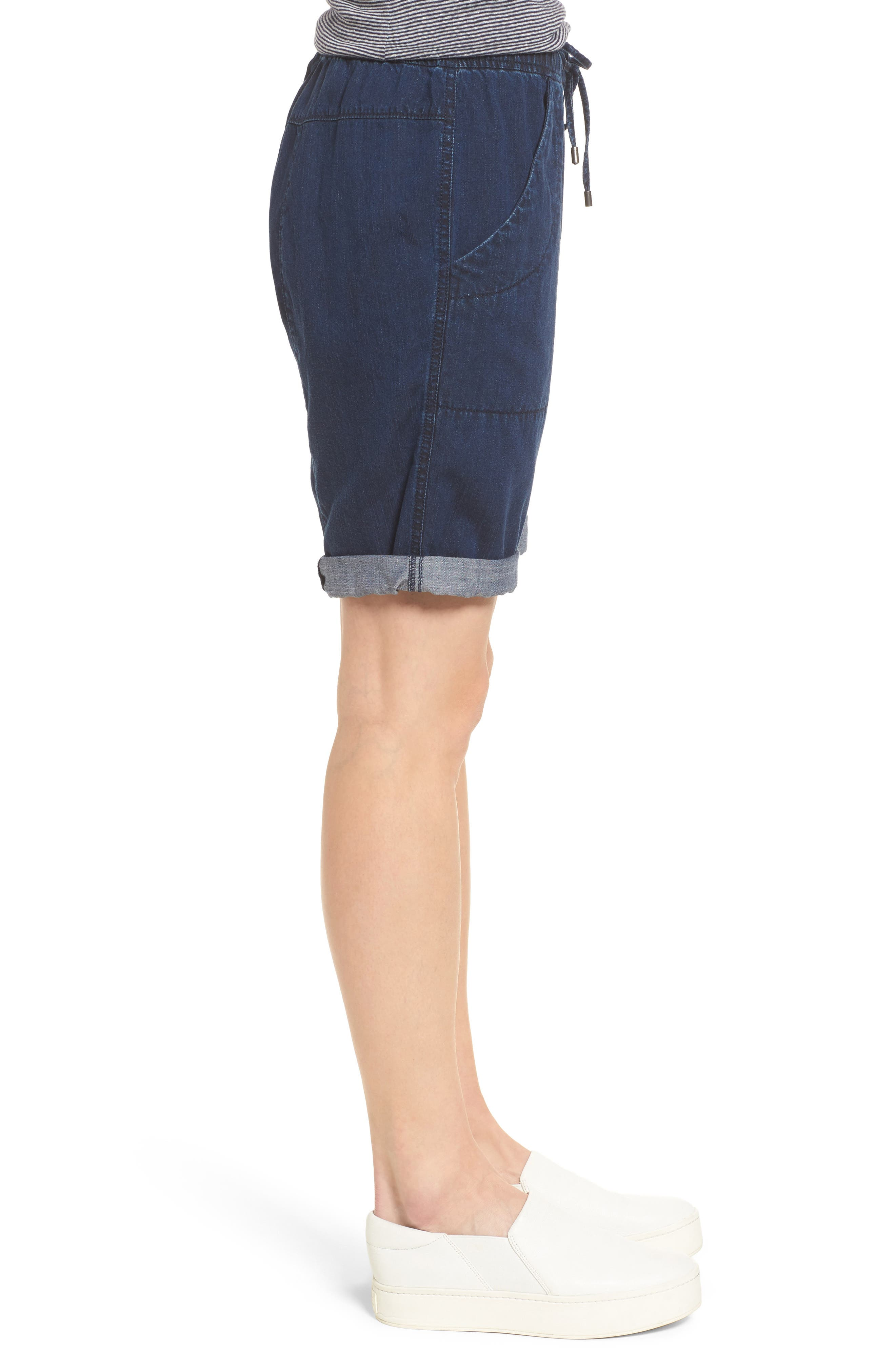 Tencel<sup>®</sup> Lyocell & Organic Cotton Walking Shorts,                             Alternate thumbnail 3, color,                             Midnight