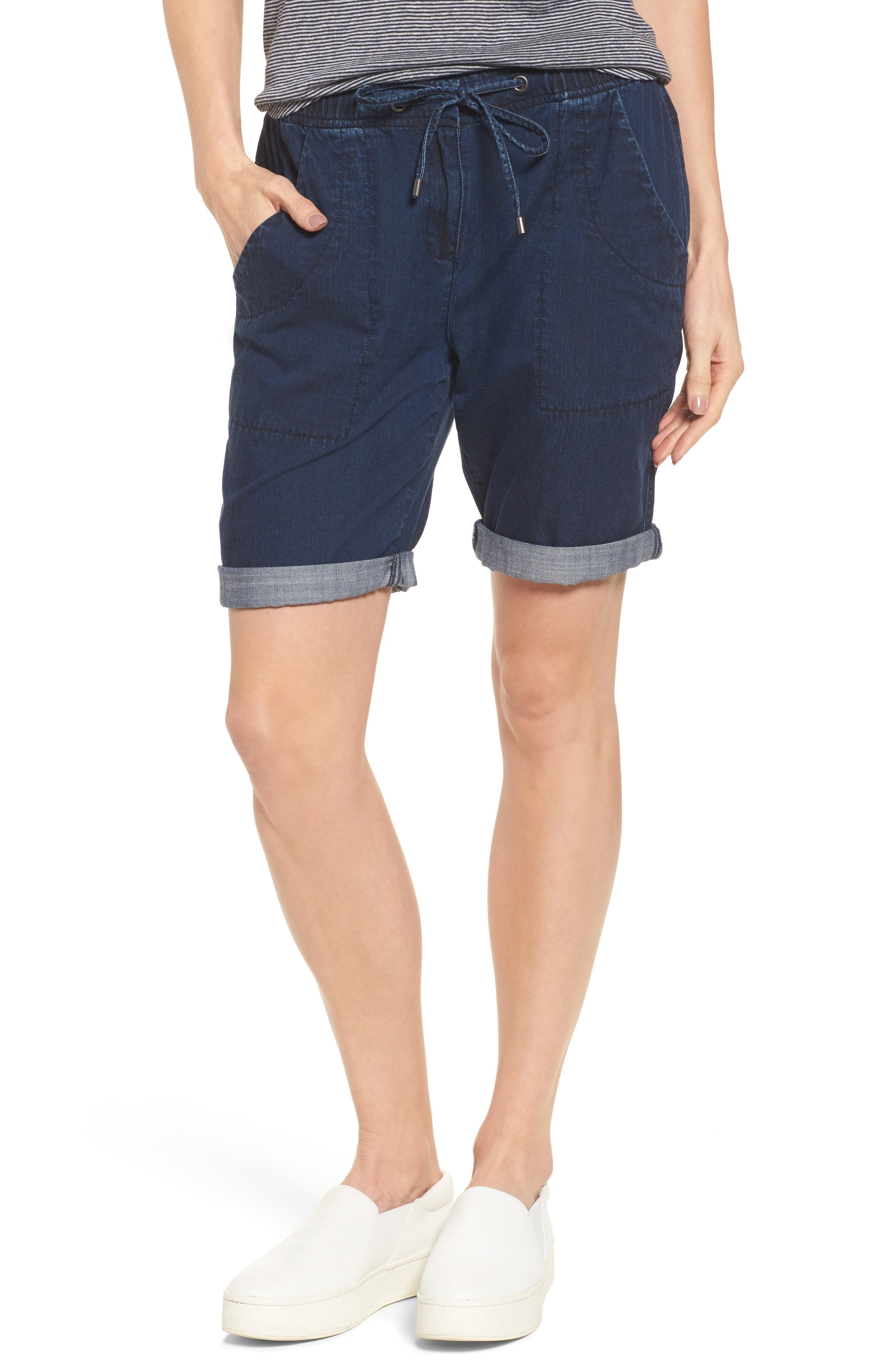 Tencel<sup>®</sup> Lyocell & Organic Cotton Walking Shorts,                             Main thumbnail 1, color,                             Midnight