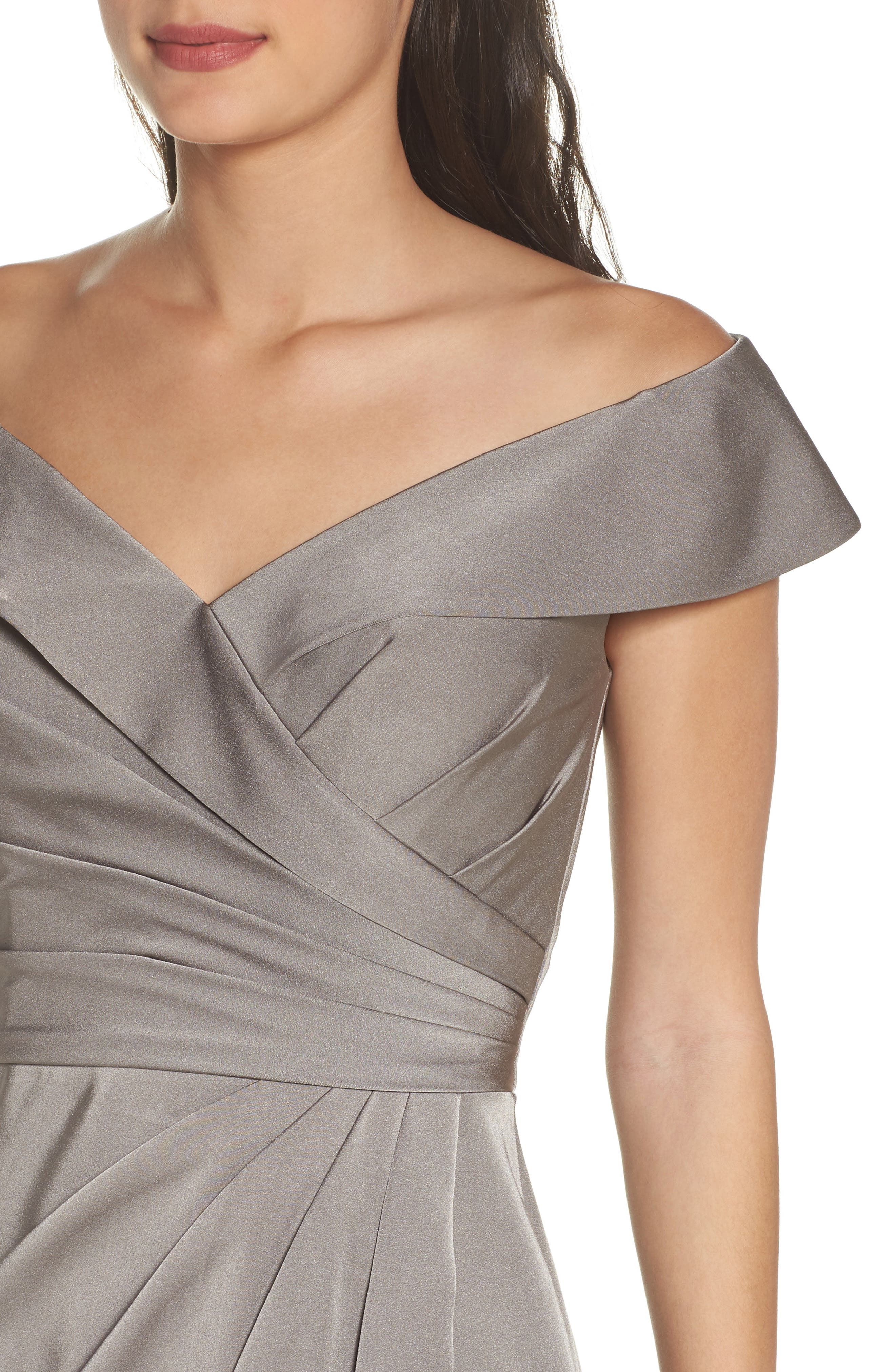 Surplice Off the Shoulder Gown,                             Alternate thumbnail 4, color,                             Pewter