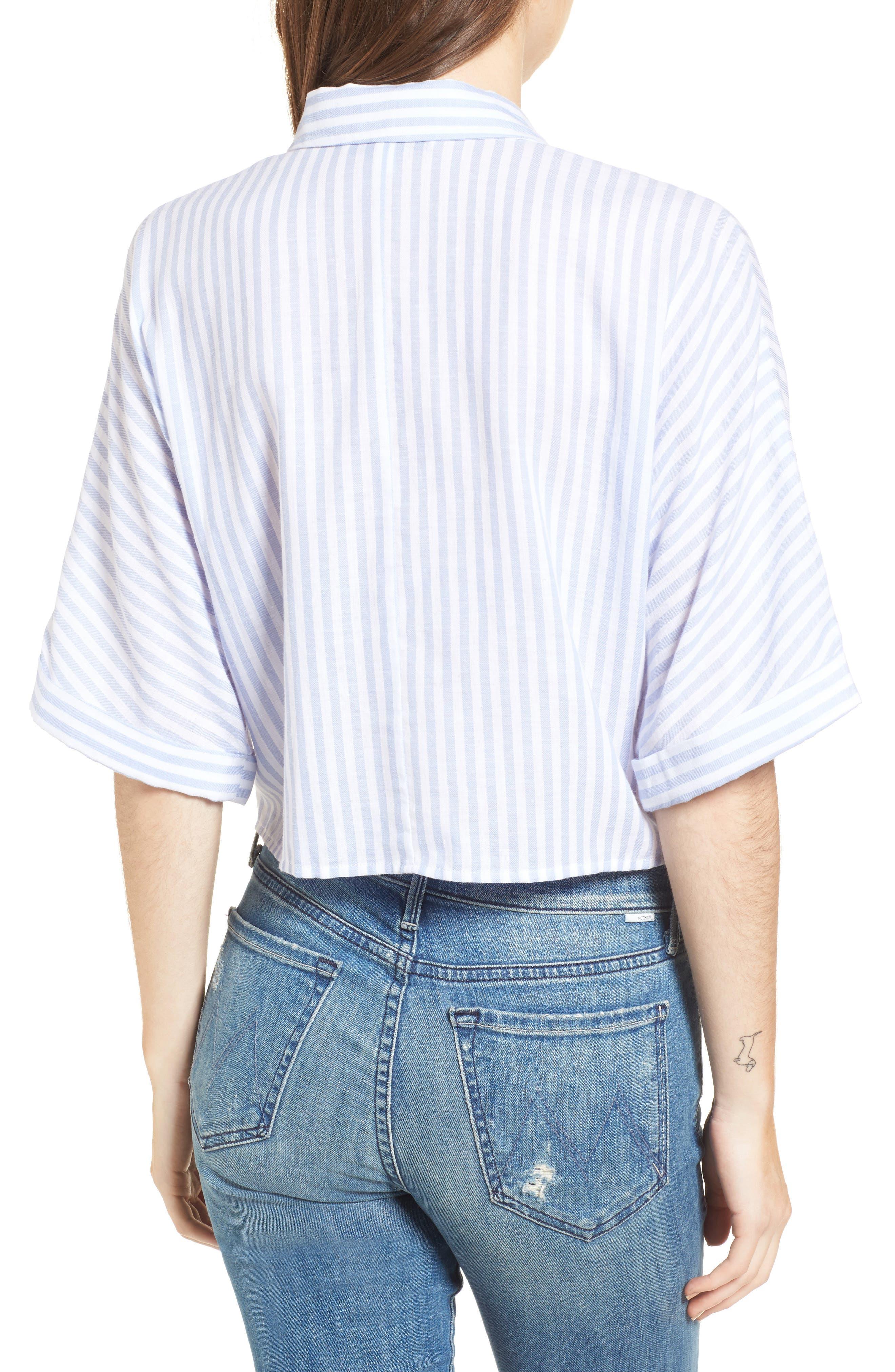 Saundra Tie Waist Crop Shirt,                             Alternate thumbnail 3, color,                             French Blue