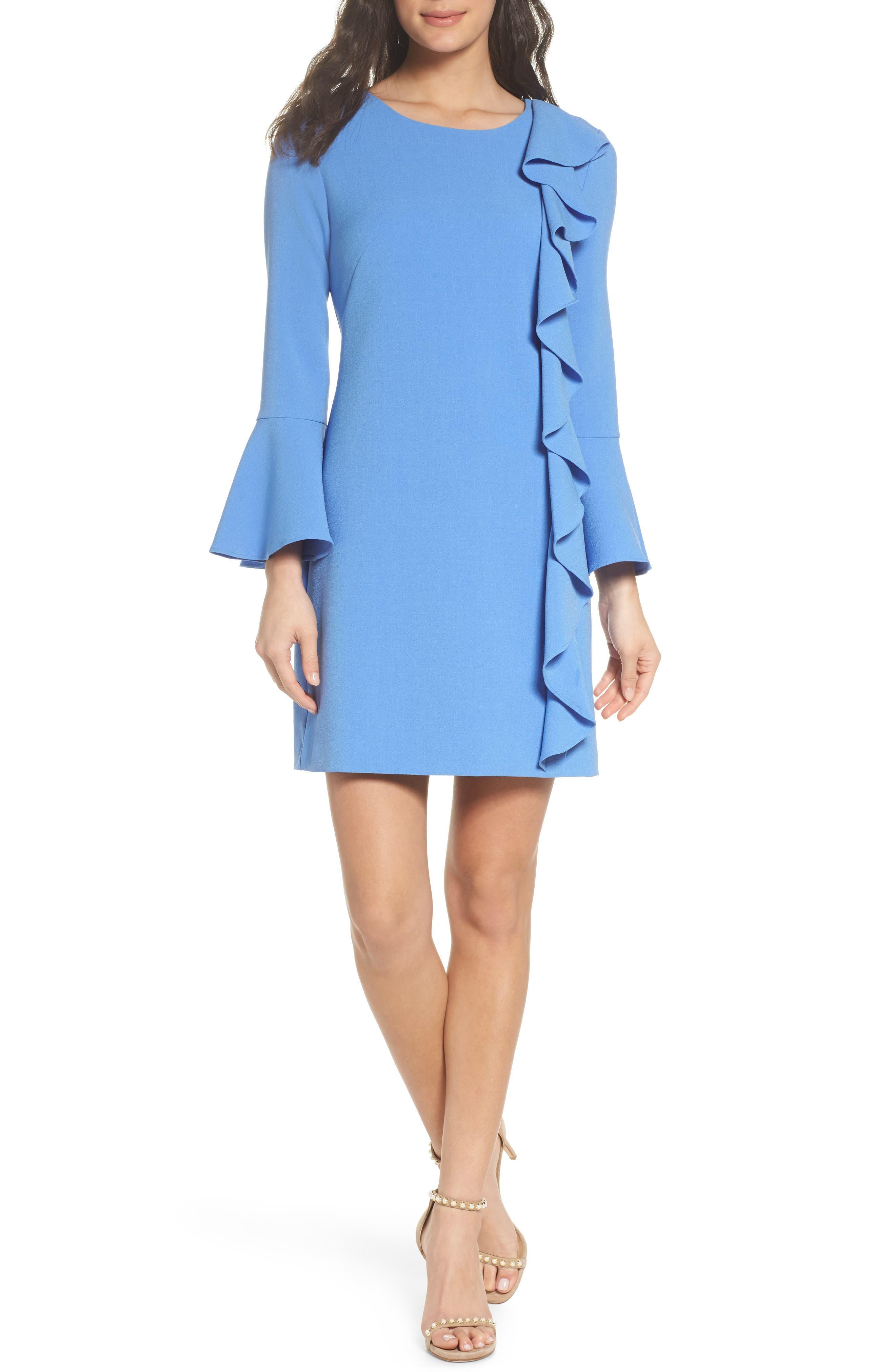 Ruffle Shift Dress,                         Main,                         color, Blue Azurite