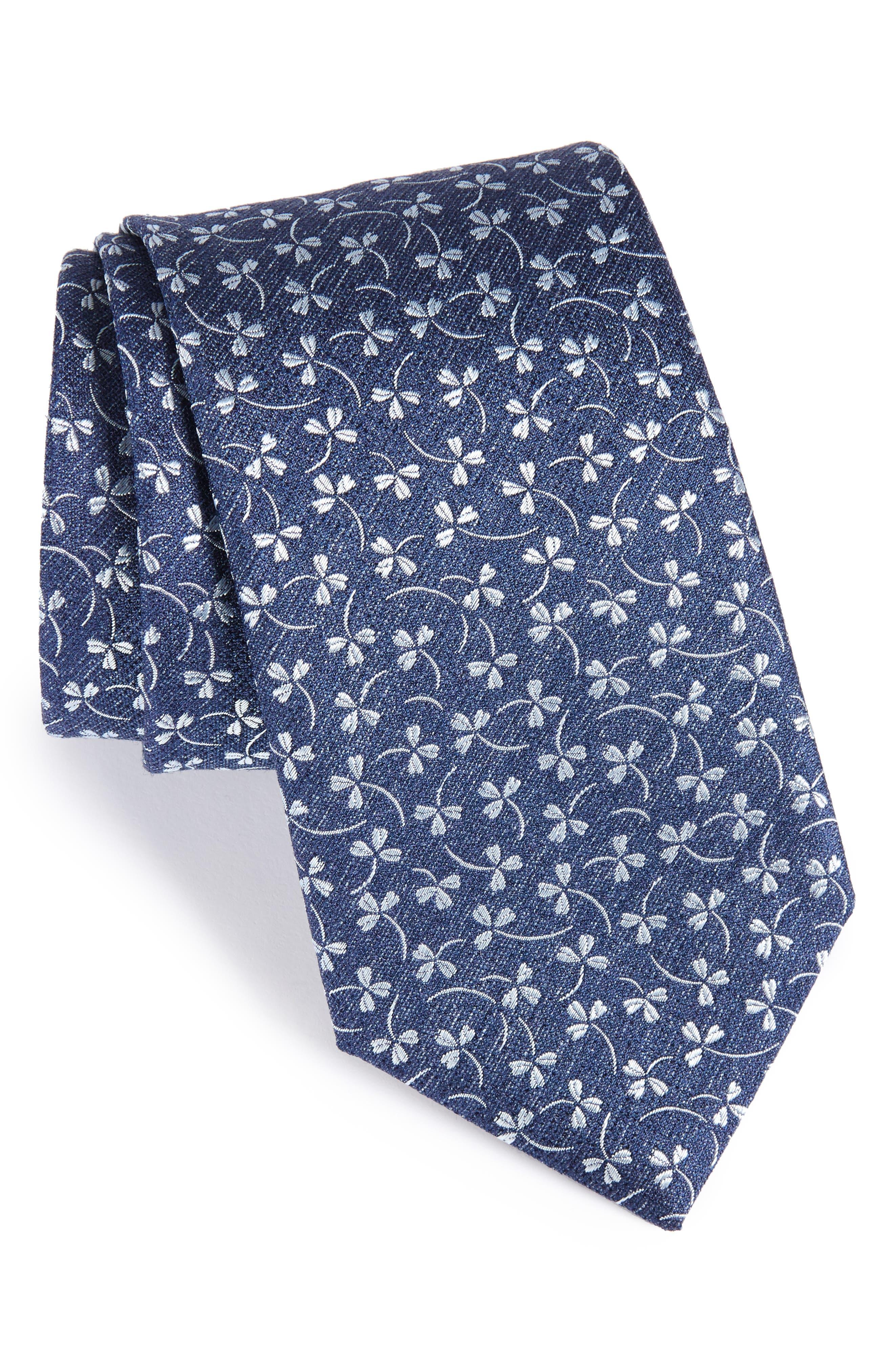 Floral Silk Tie,                             Main thumbnail 1, color,                             Navy