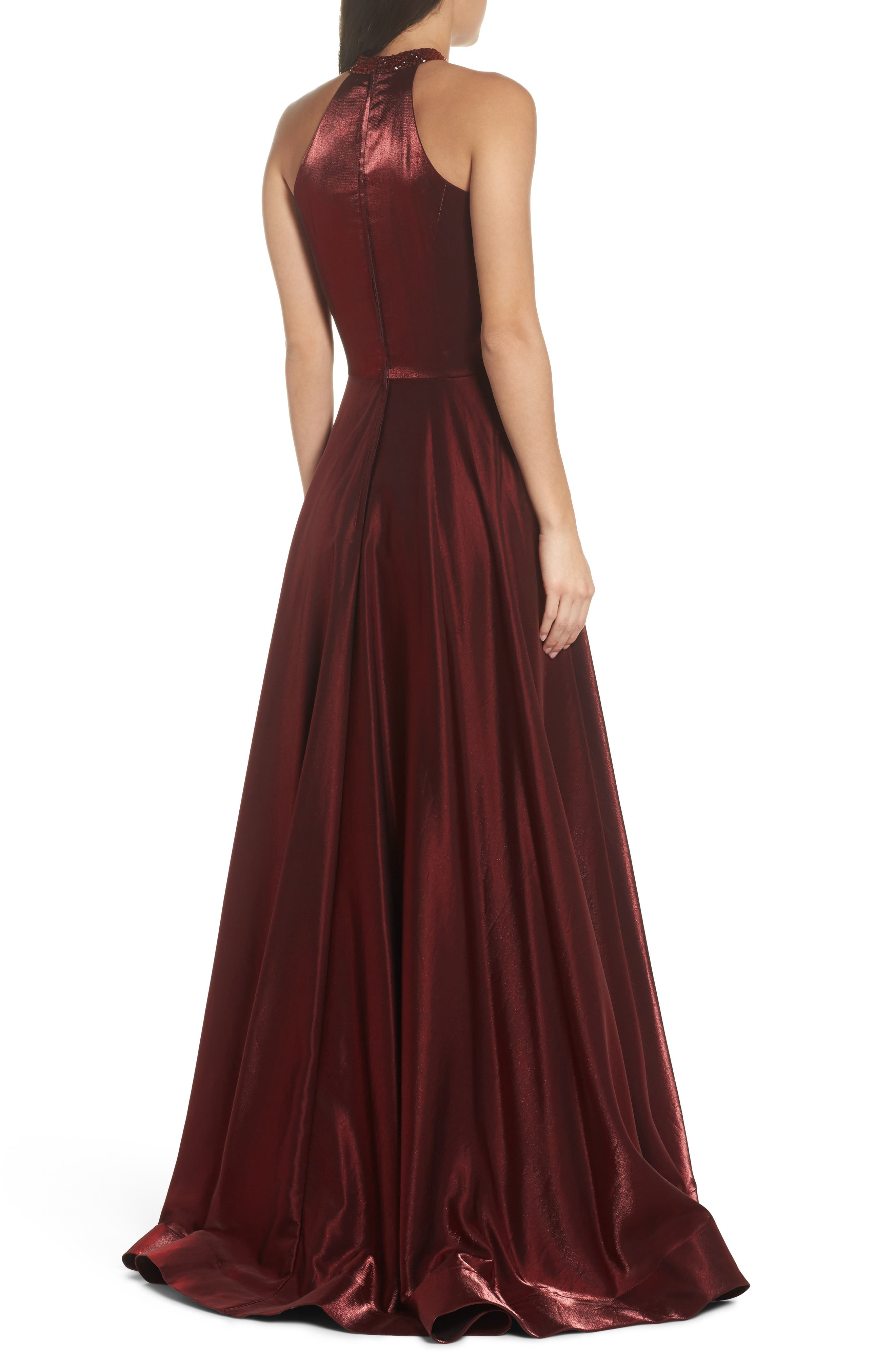 Beaded Halter Neck A-Line Gown,                             Alternate thumbnail 2, color,                             Burgundy