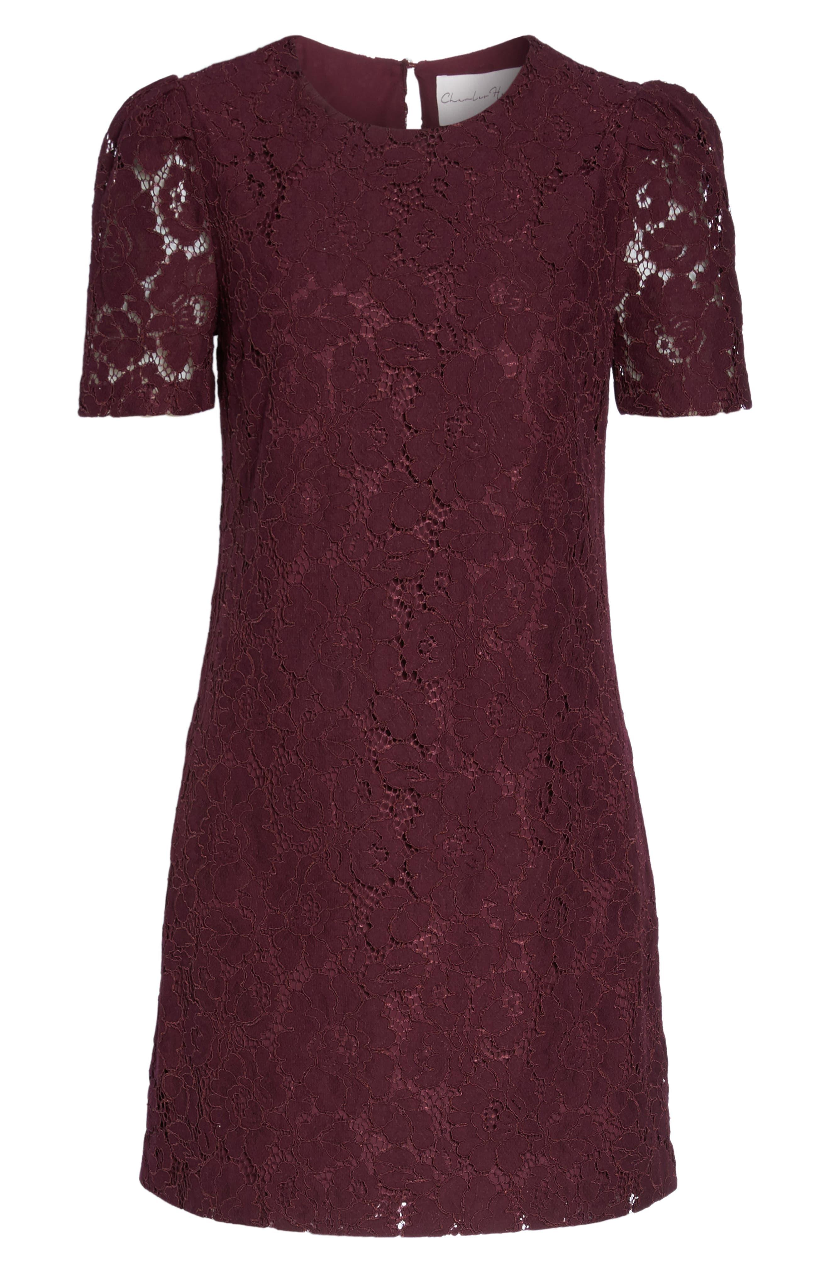 Lace Shift Dress,                             Alternate thumbnail 6, color,                             Merlot