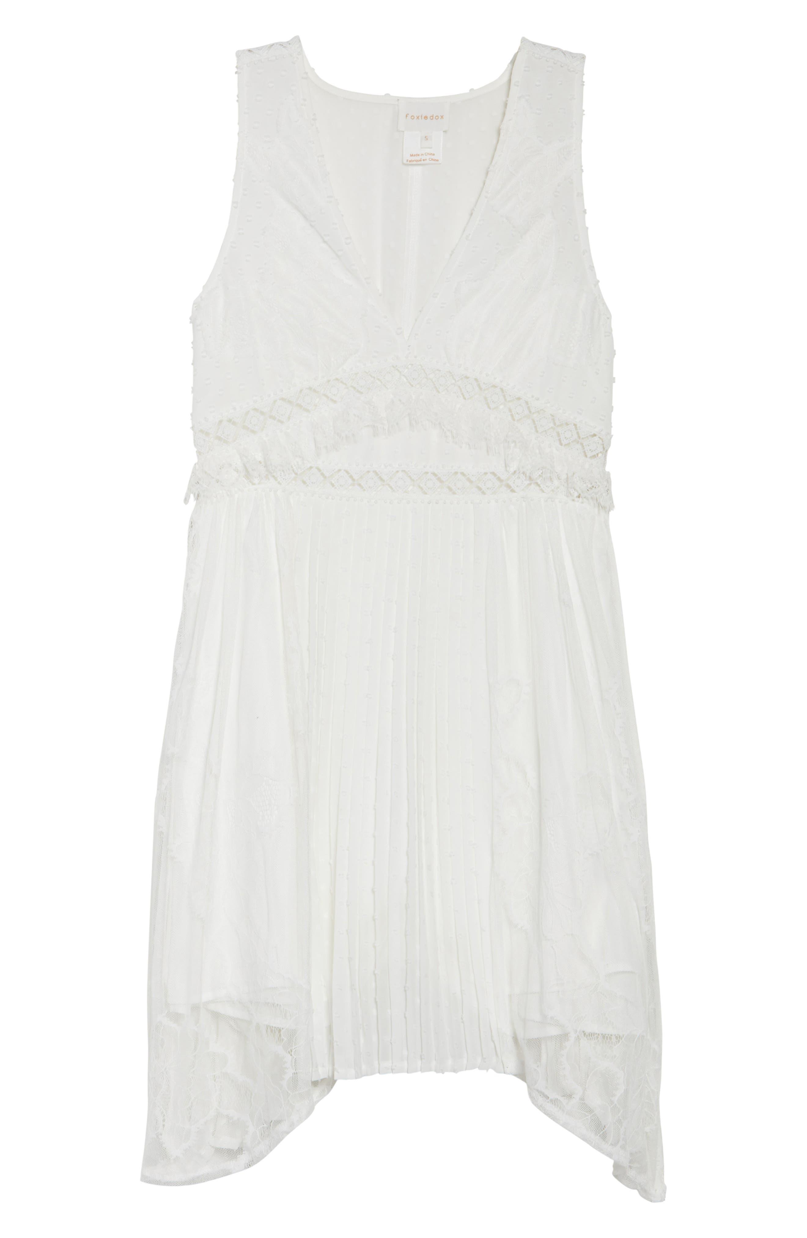 Babette Lace Inset Party Dress,                             Alternate thumbnail 6, color,                             White