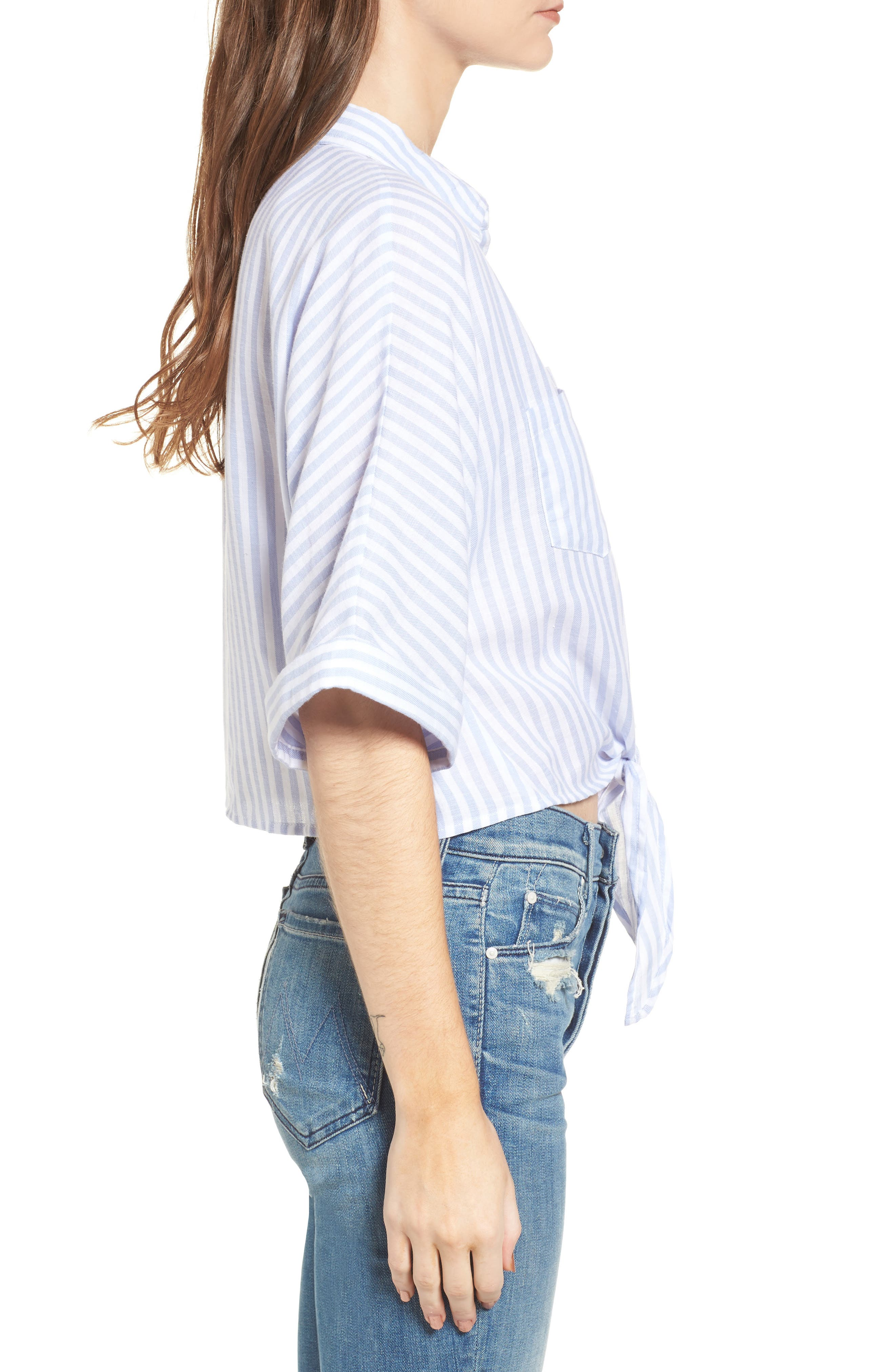 Saundra Tie Waist Crop Shirt,                             Alternate thumbnail 2, color,                             French Blue