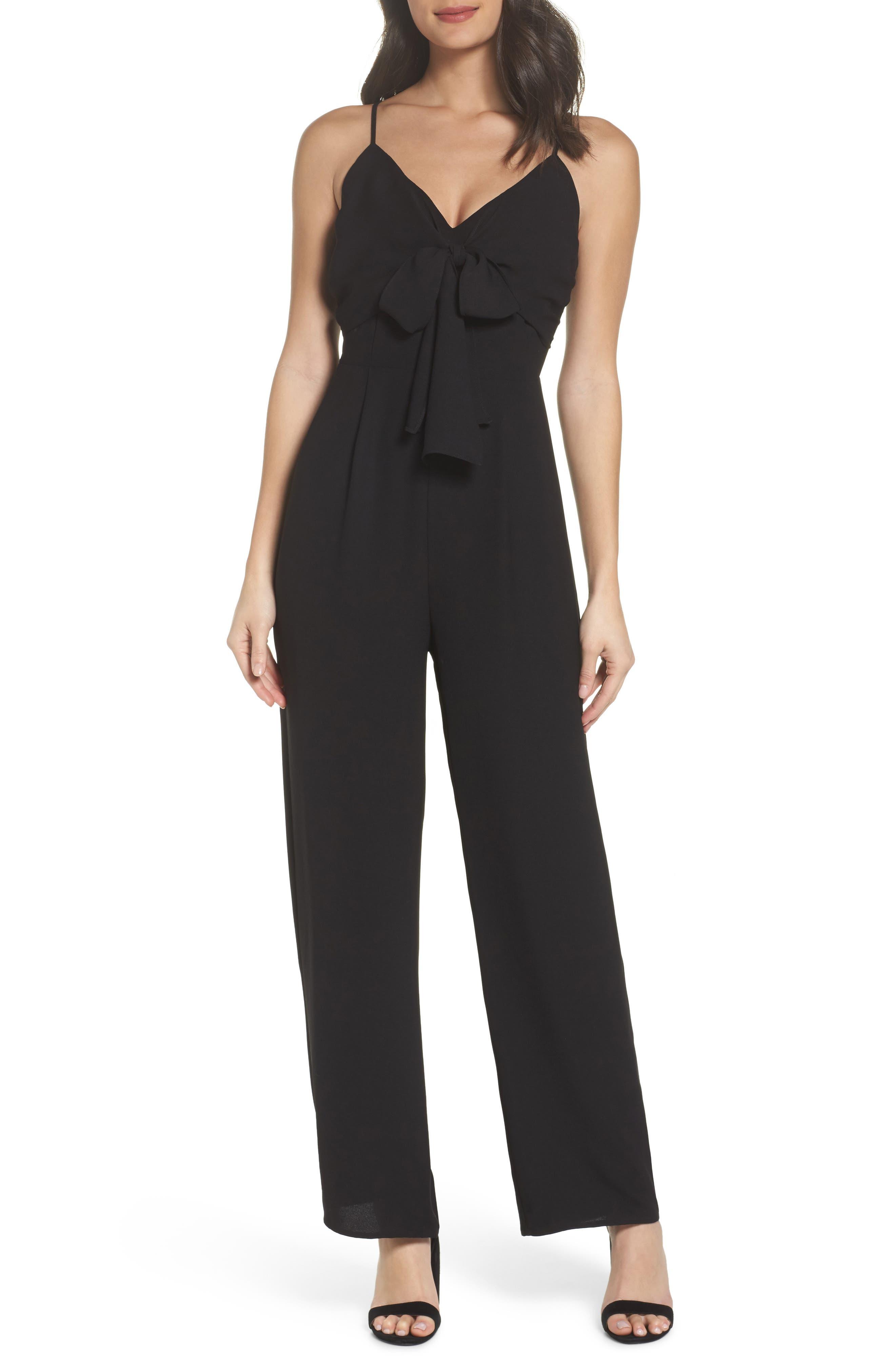 Tie Front Jumpsuit,                         Main,                         color, Black