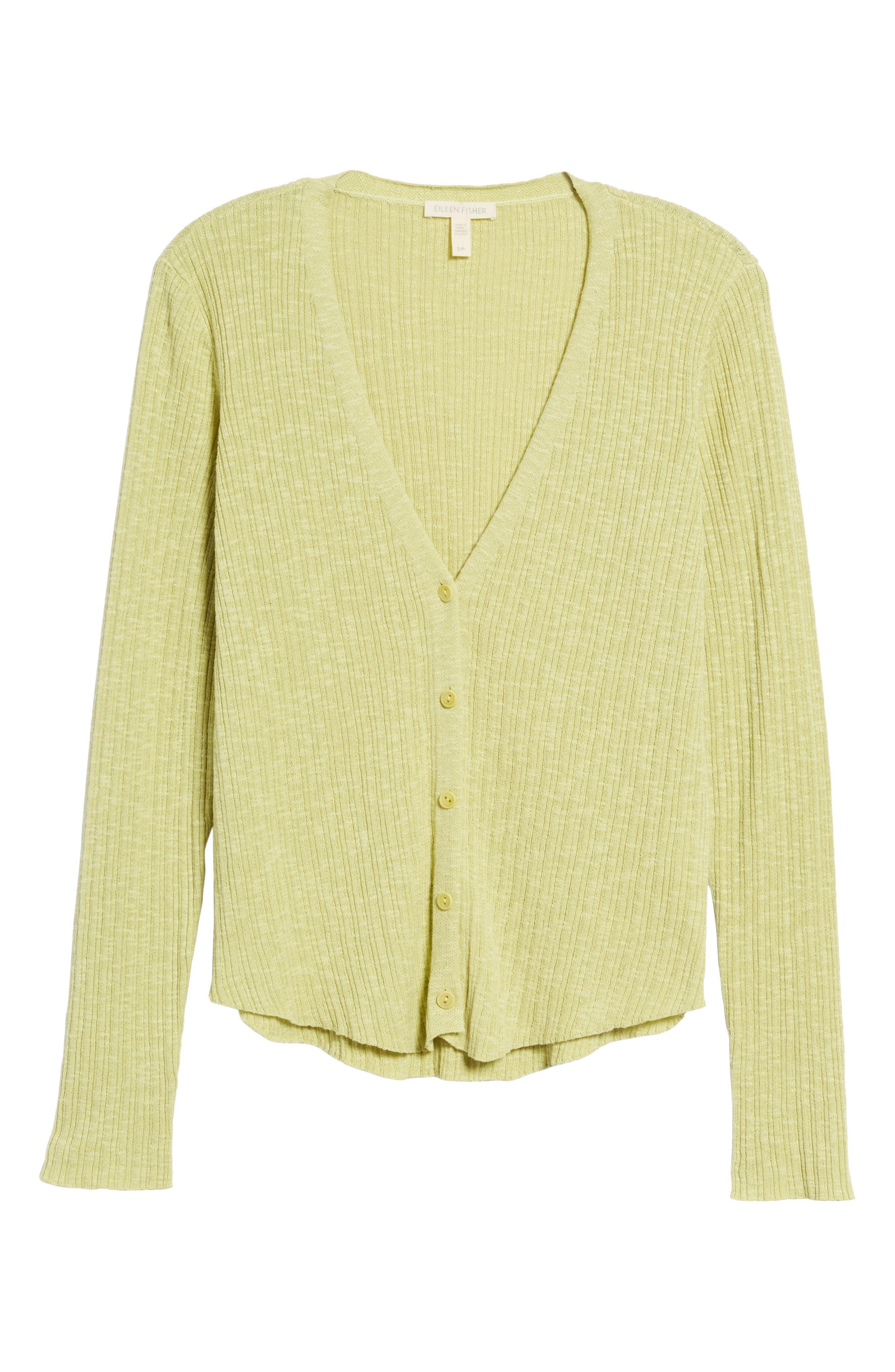 V-Neck Organic Linen & Cotton Cardigan,                             Alternate thumbnail 6, color,                             Verbena