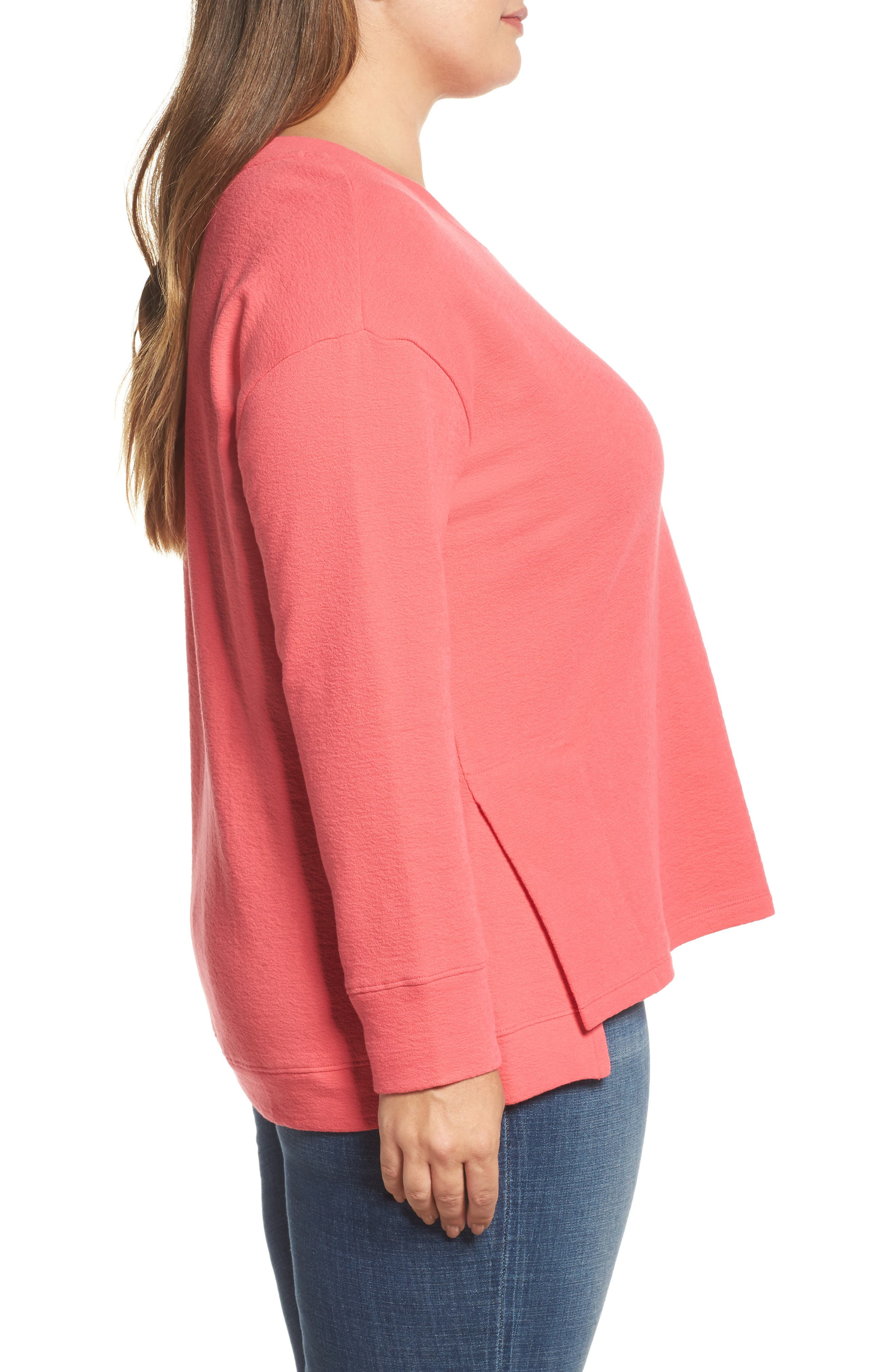Side Slit Sweatshirt,                             Alternate thumbnail 3, color,                             Pink Ribbon