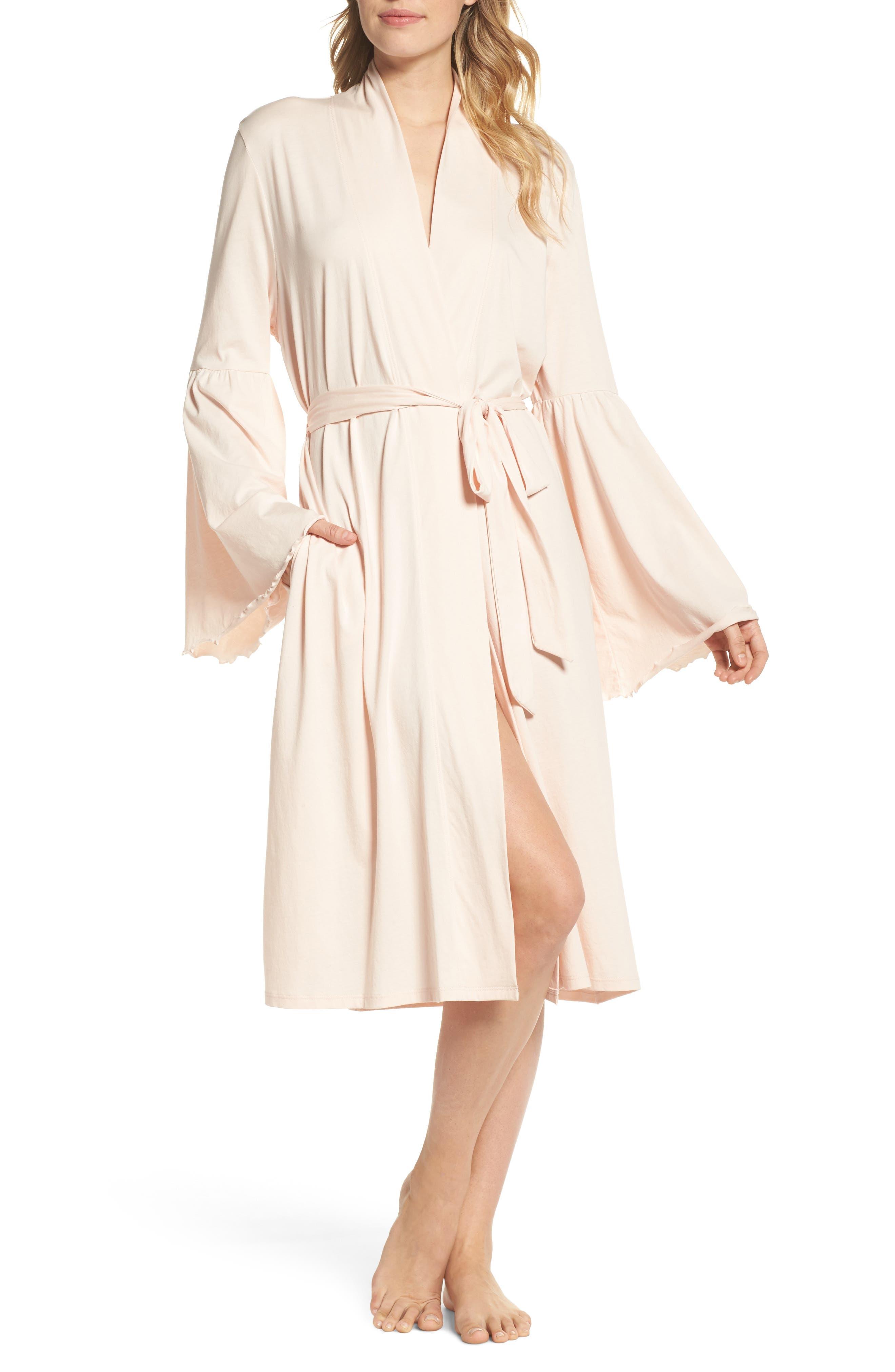Pima Cotton Robe,                             Main thumbnail 1, color,                             Powder Pink