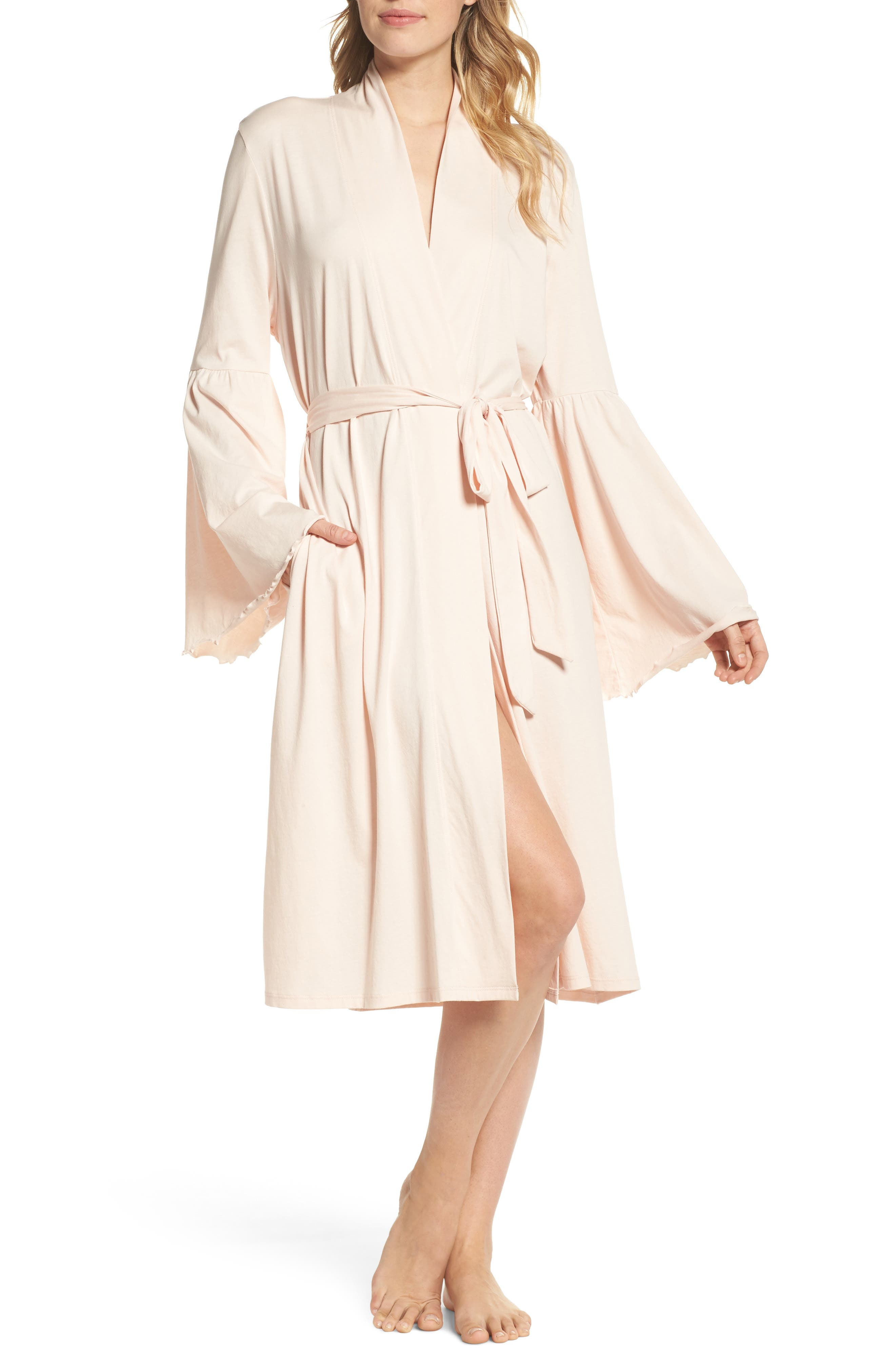 Pima Cotton Robe,                         Main,                         color, Powder Pink