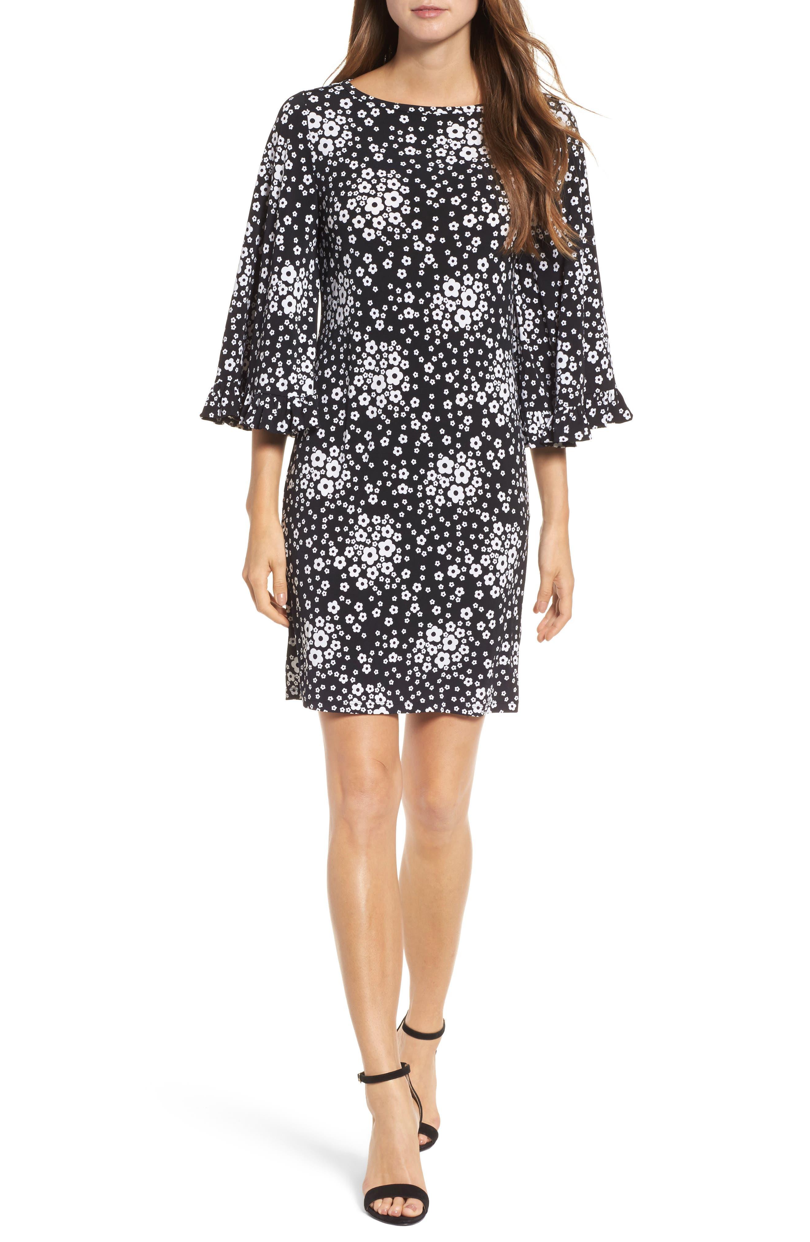 Floral Mod Shift Dress,                             Main thumbnail 1, color,                             Black/ White