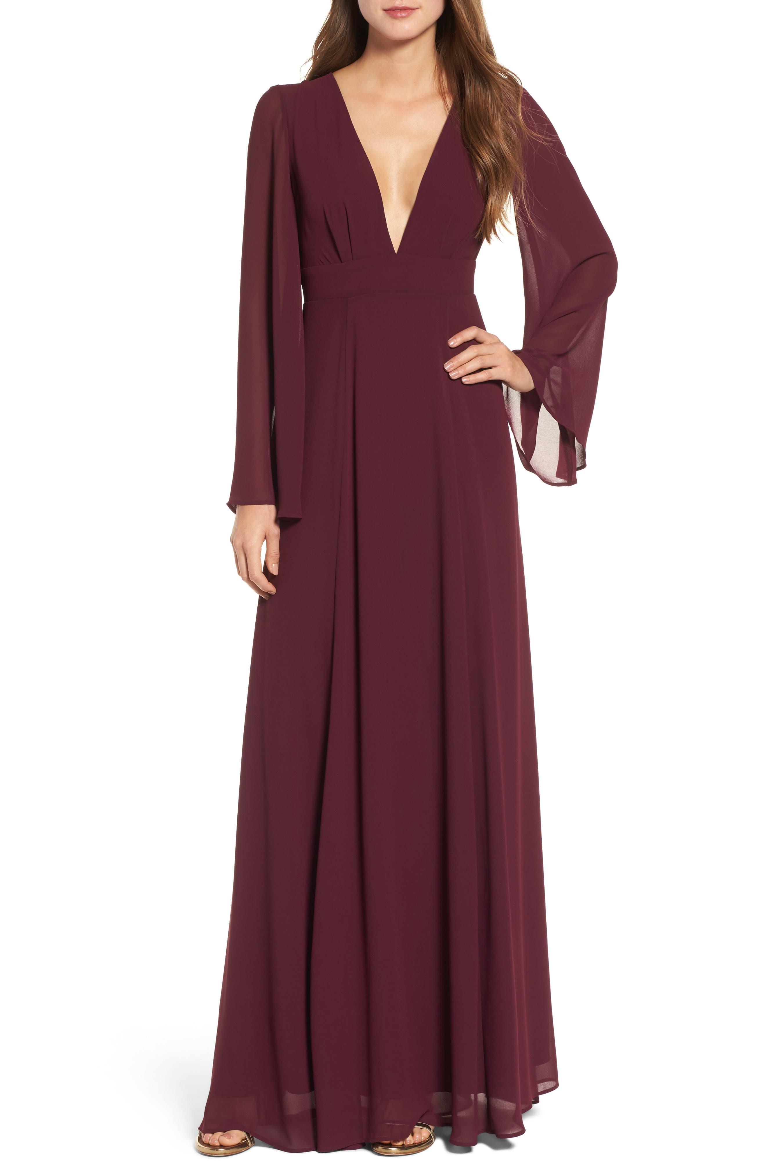 Maxi Dress,                         Main,                         color, Merlot Chiffon