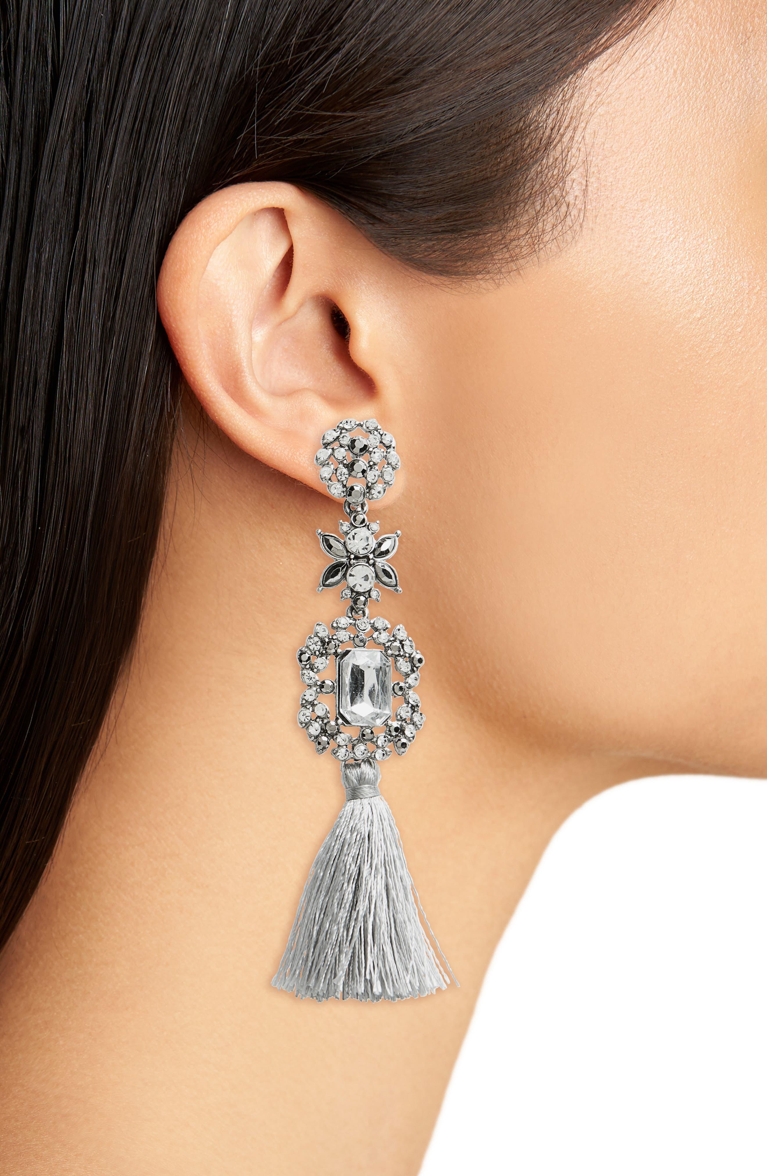 Crystal Tassel Drop Earrings,                             Alternate thumbnail 2, color,                             Crystal