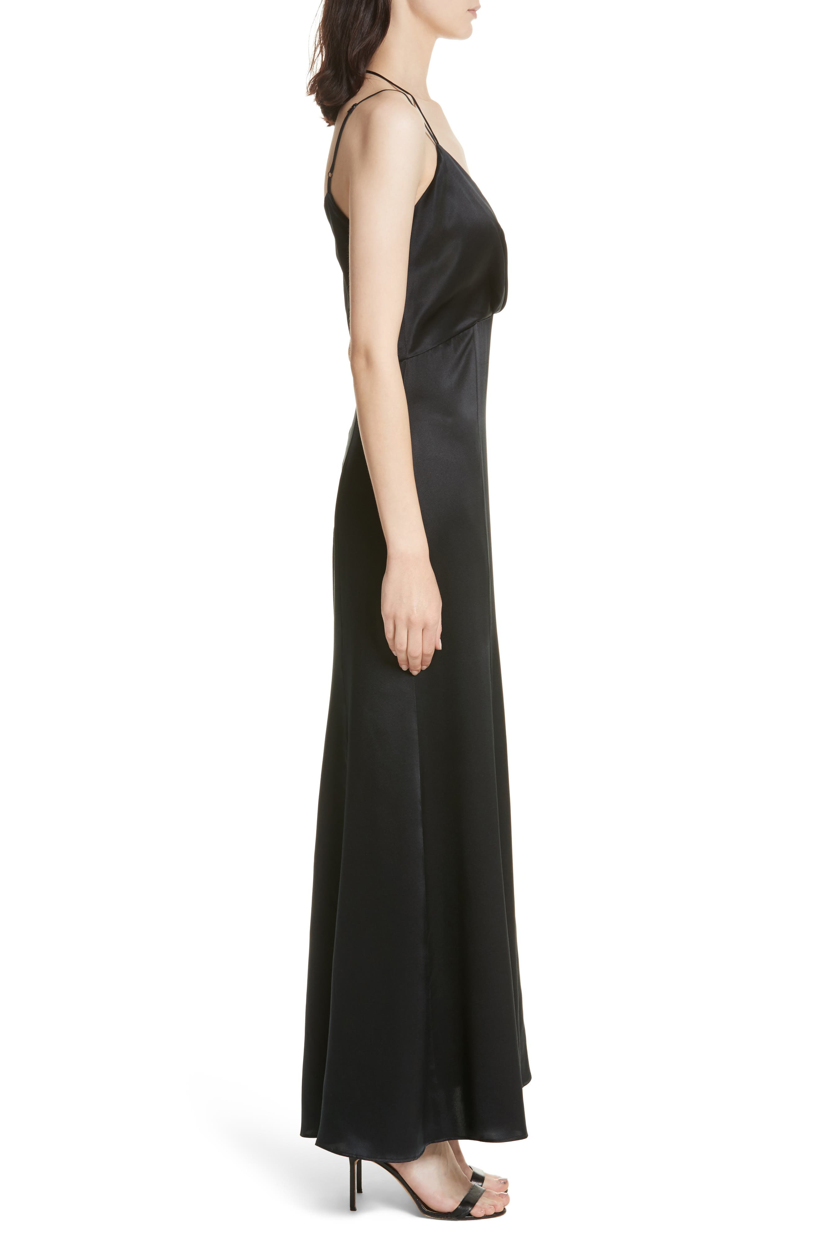Octavia Strappy Silk Charmeuse Gown,                             Alternate thumbnail 3, color,                             Black