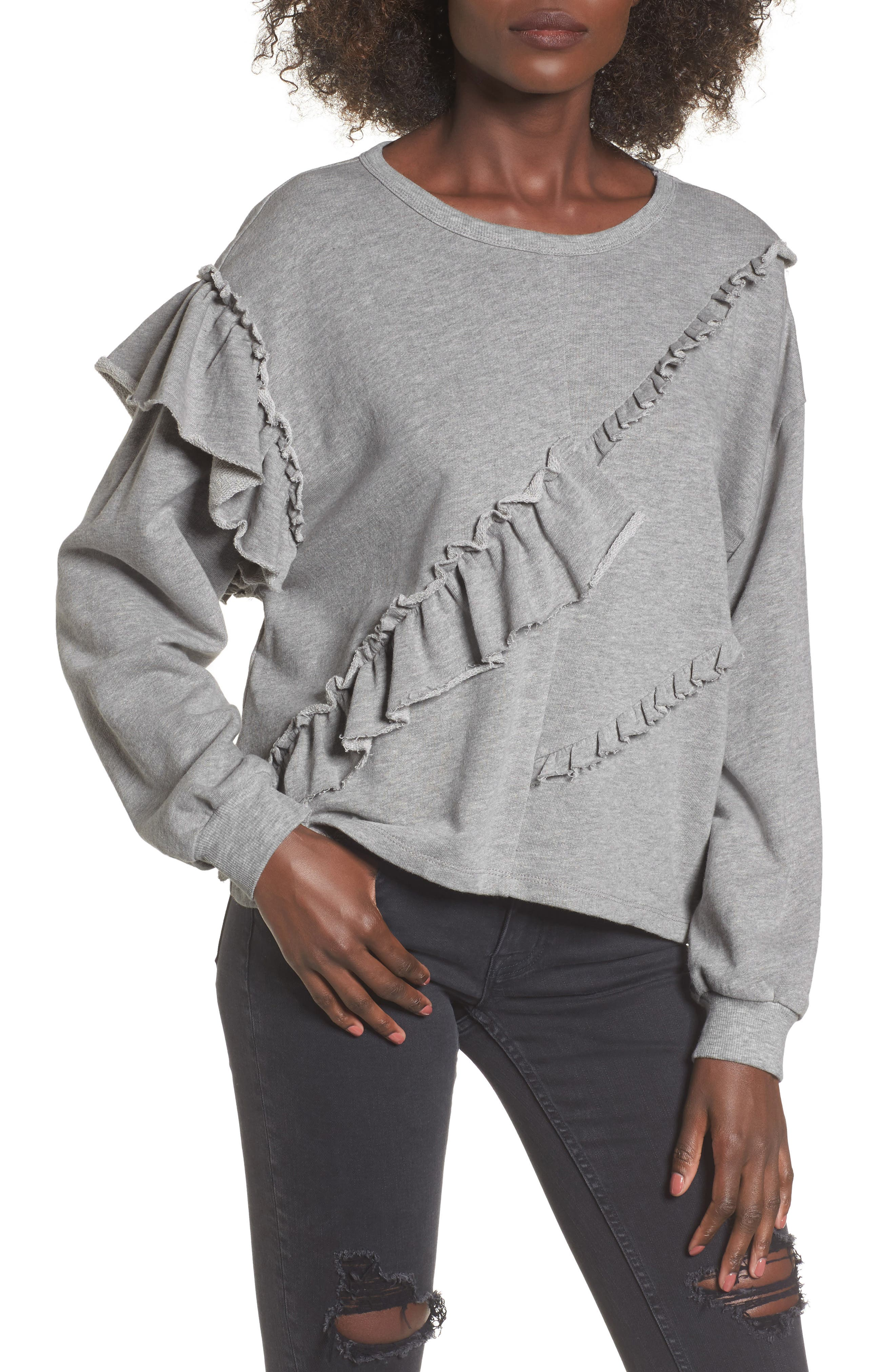 Asymmetric Ruffle Sweatshirt,                             Main thumbnail 1, color,                             Heather Grey