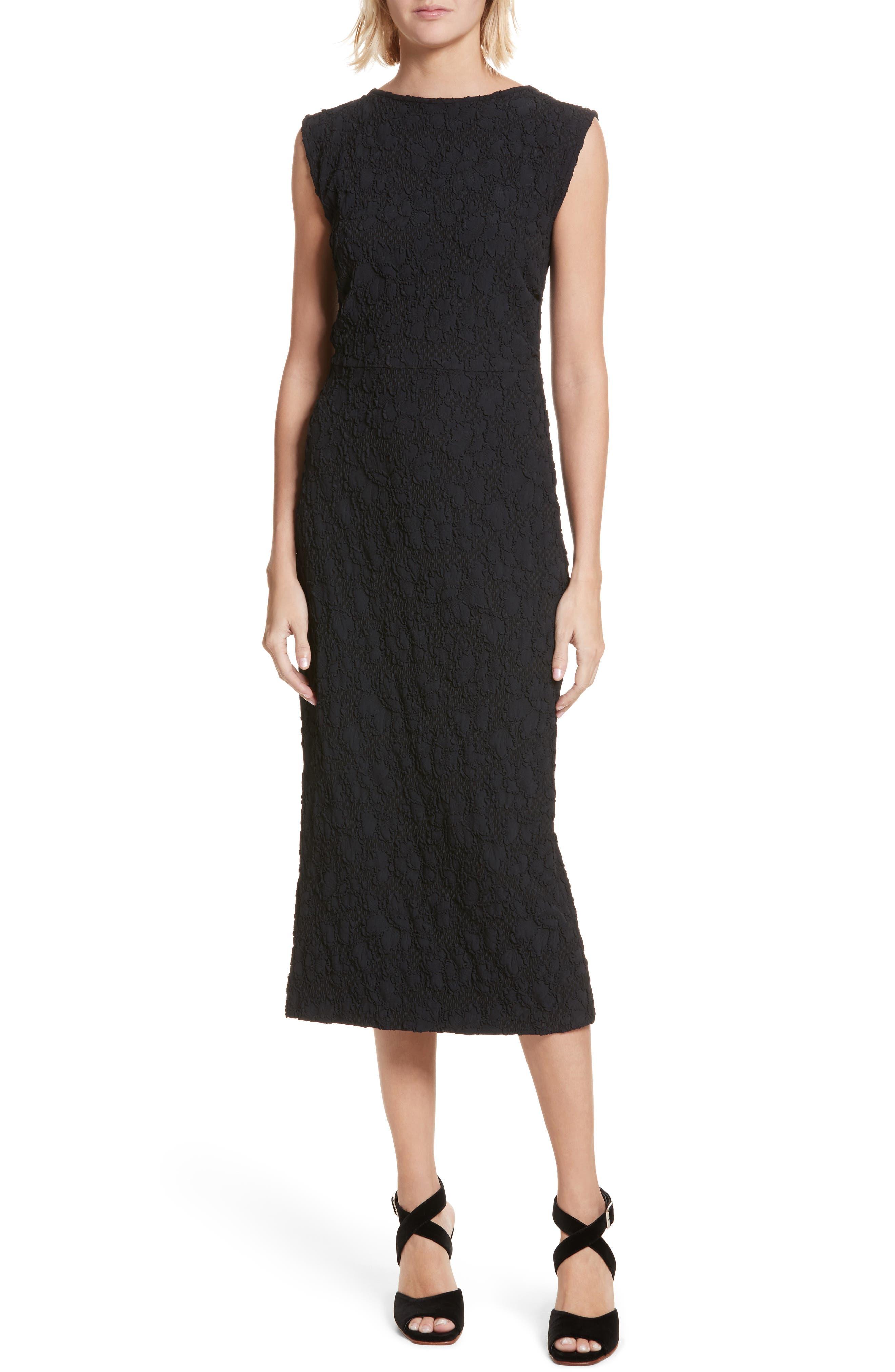 Medina Floral Jacquard Sheath Dress,                             Main thumbnail 1, color,                             Black