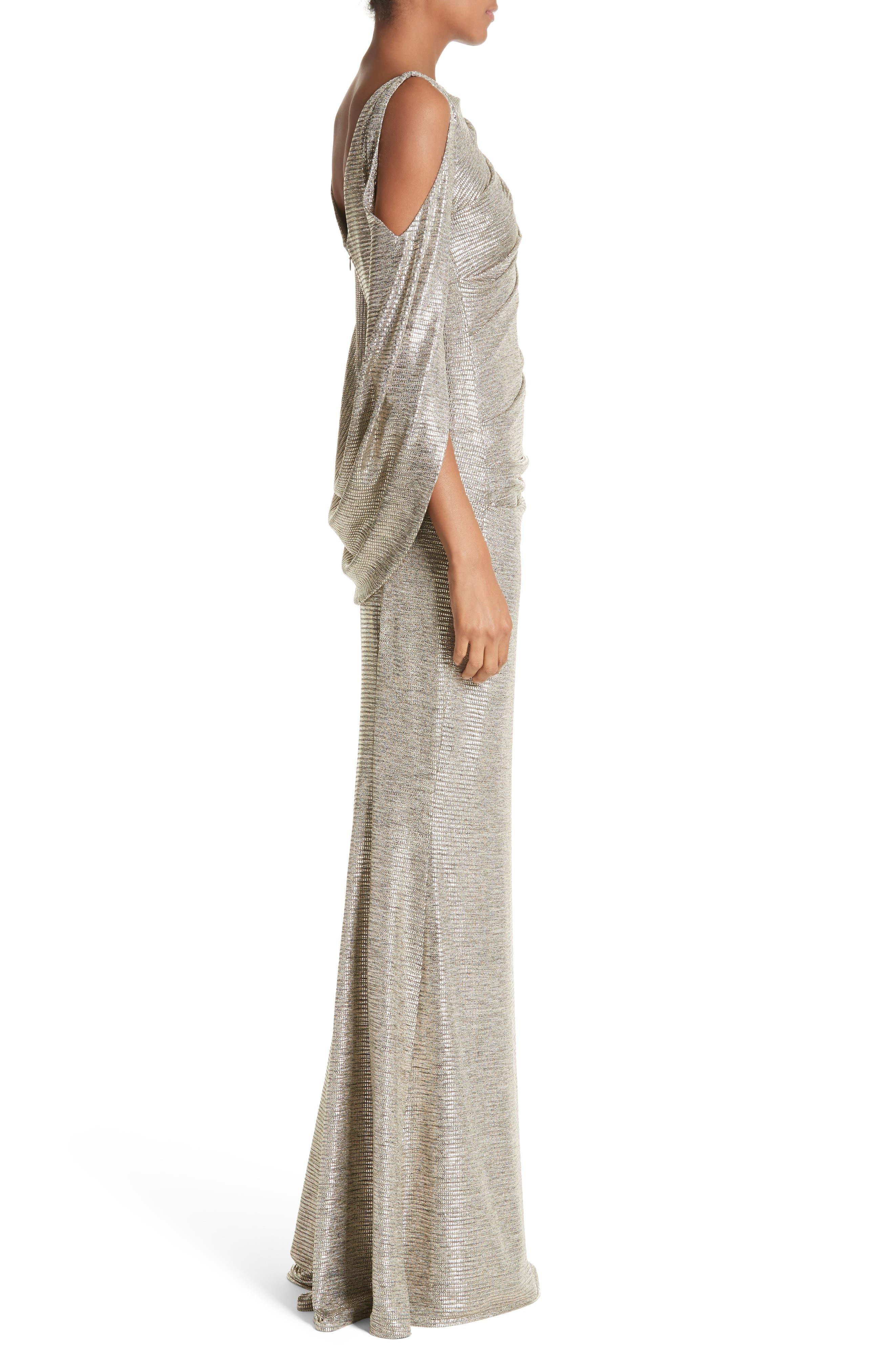 Cold Shoulder Drape Back Gown,                             Alternate thumbnail 3, color,                             Gold