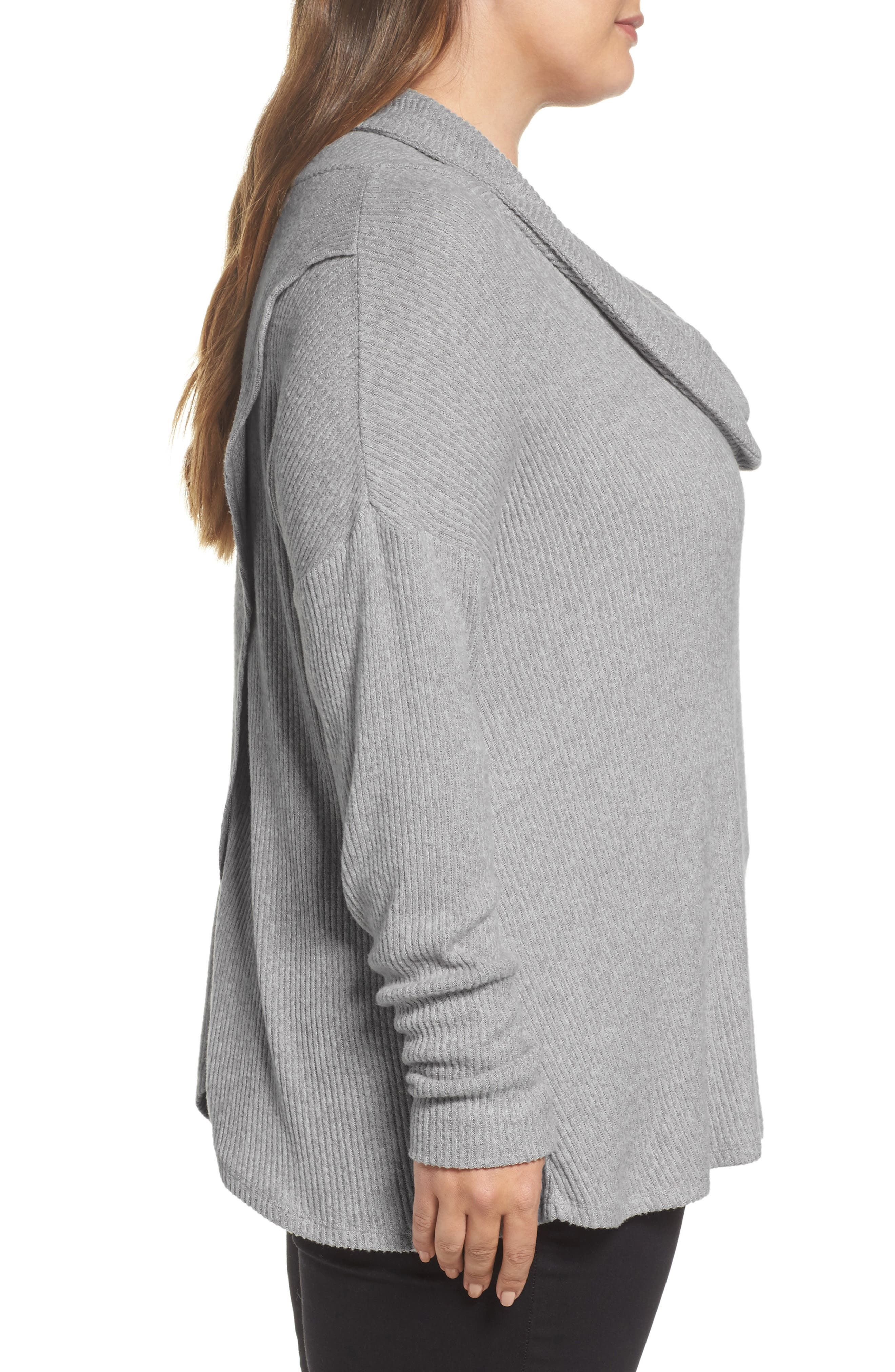Cowl Neck Pullover,                             Alternate thumbnail 3, color,                             Heather Grey