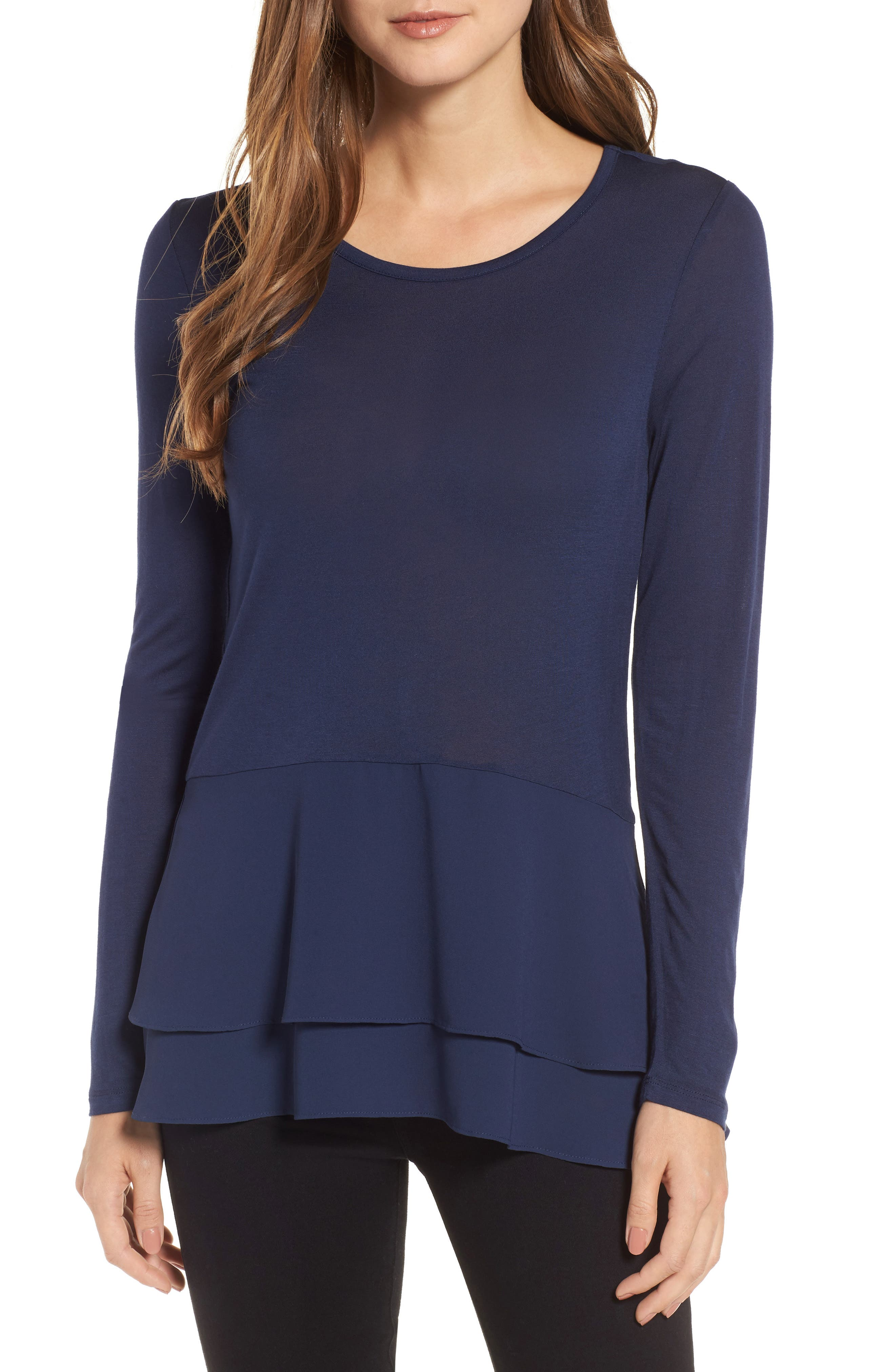 MICHAEL Michael Kors Mix Media Double Hem Top