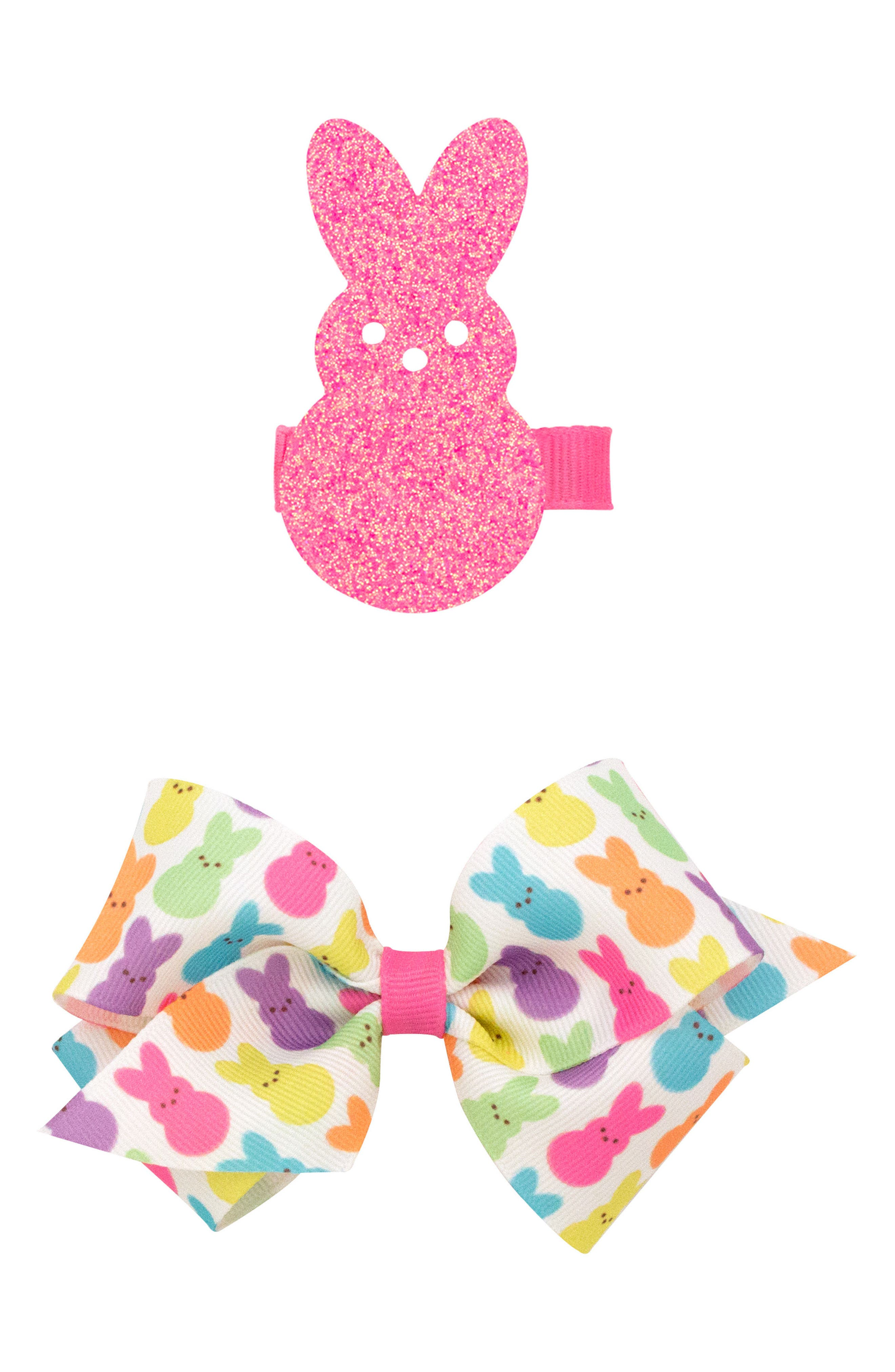 Alternate Image 1 Selected - PLH Bows & Laces 2-Pack Clips (Baby Girls)
