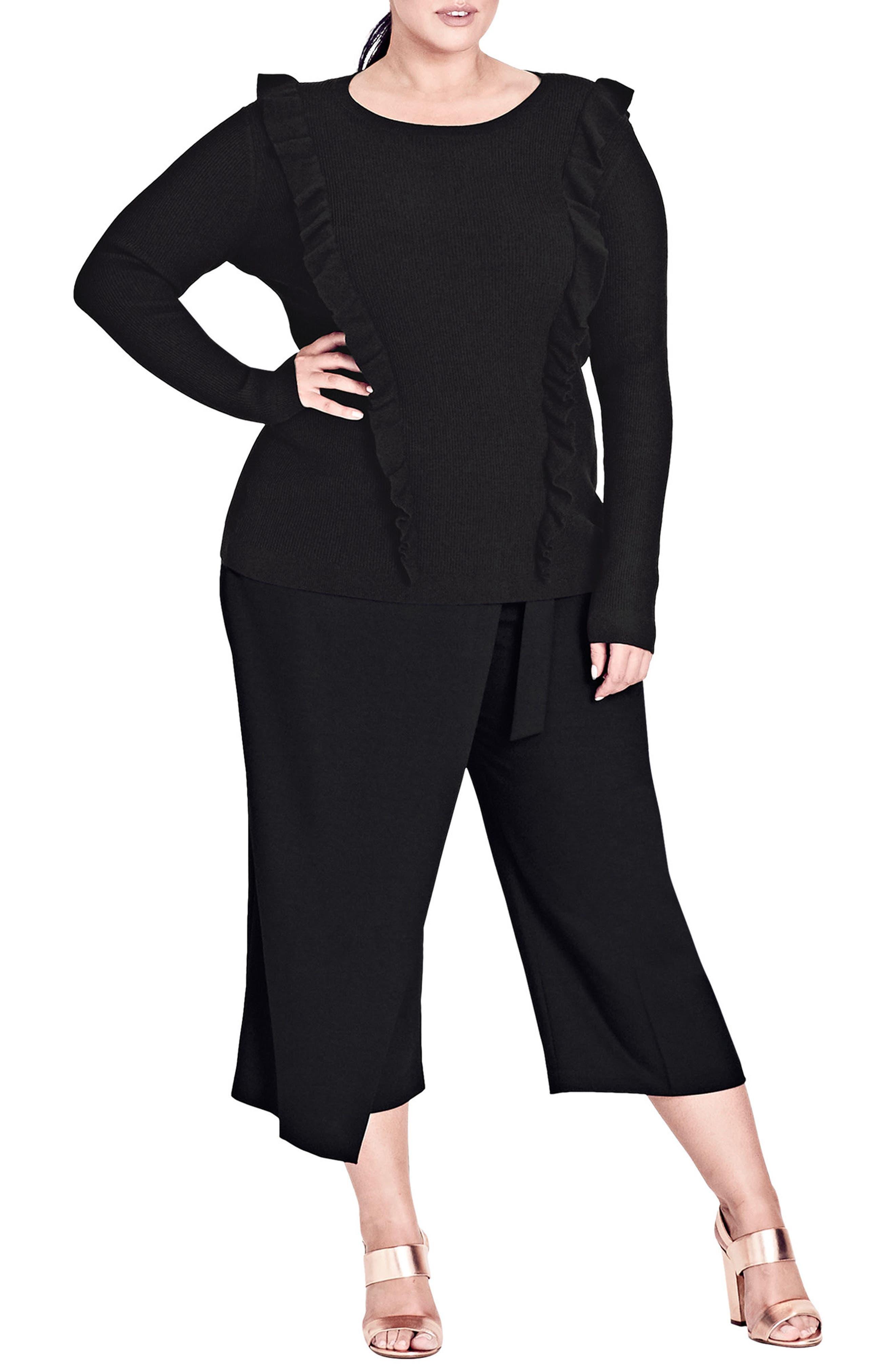 Romantic Ruffle Trim Sweater,                         Main,                         color, Black