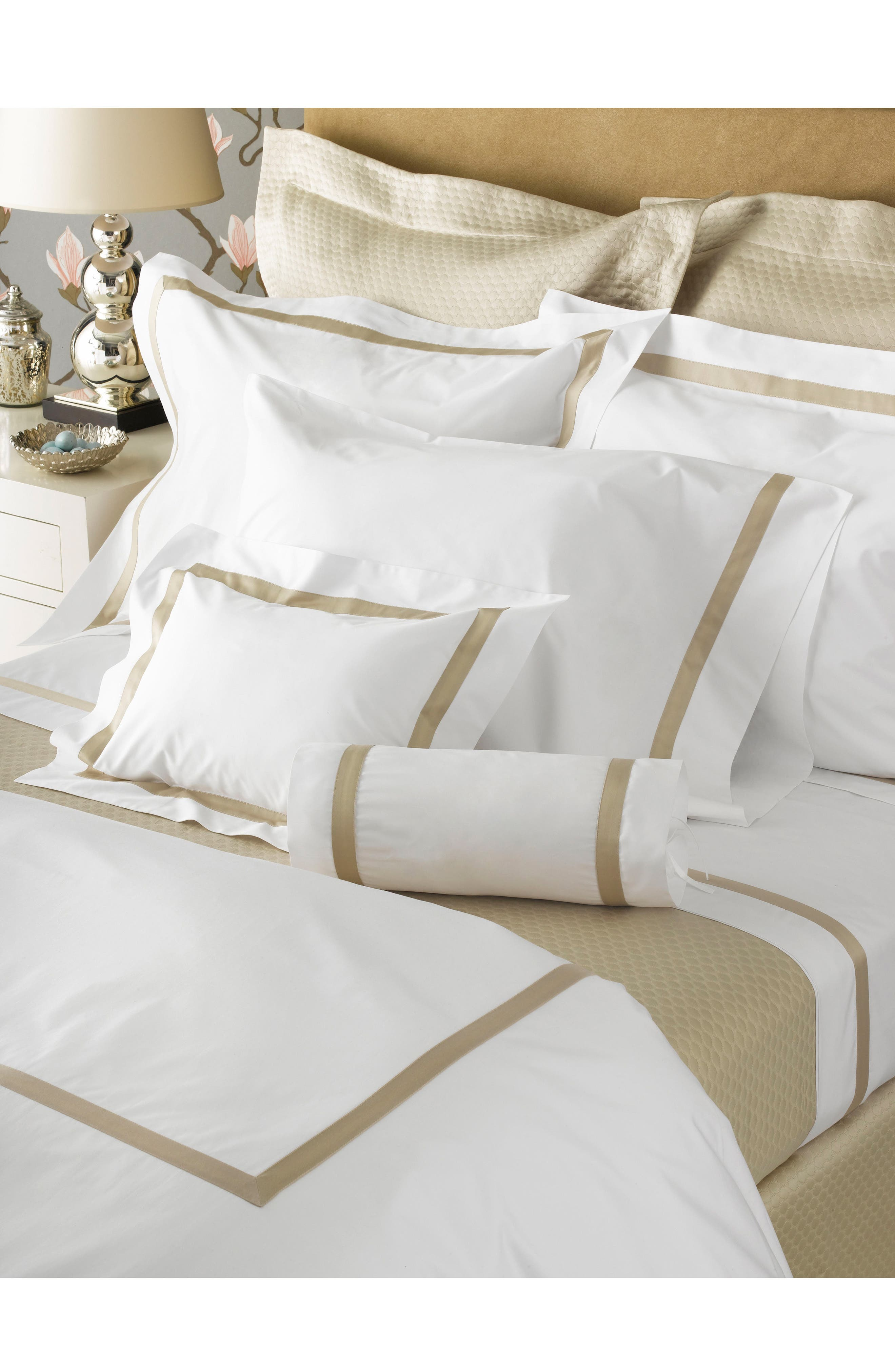 Lowell Duvet Cover,                             Main thumbnail 1, color,                             Champagne
