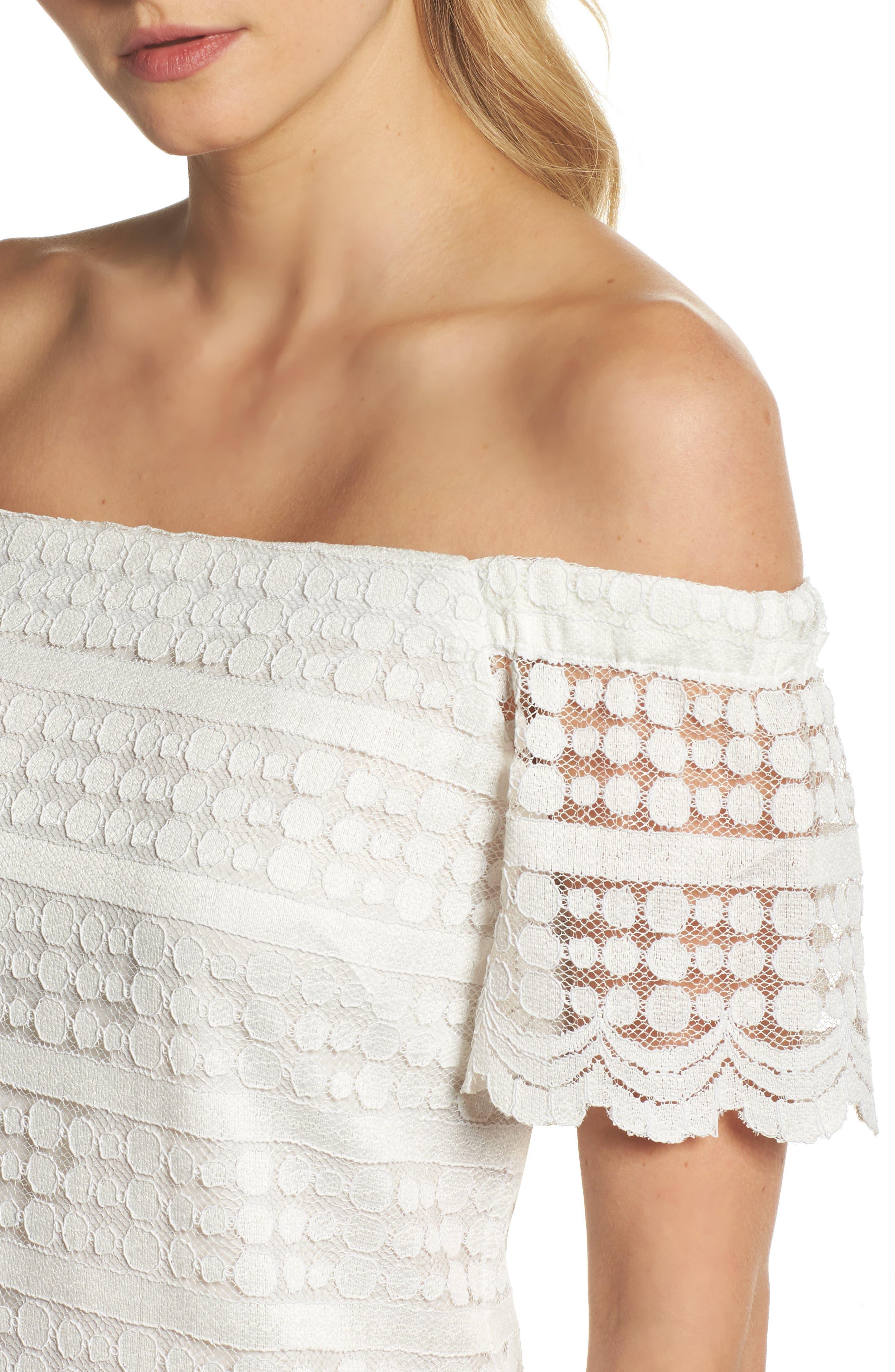 Merengue Off the Shoulder Minidress,                             Alternate thumbnail 4, color,                             White