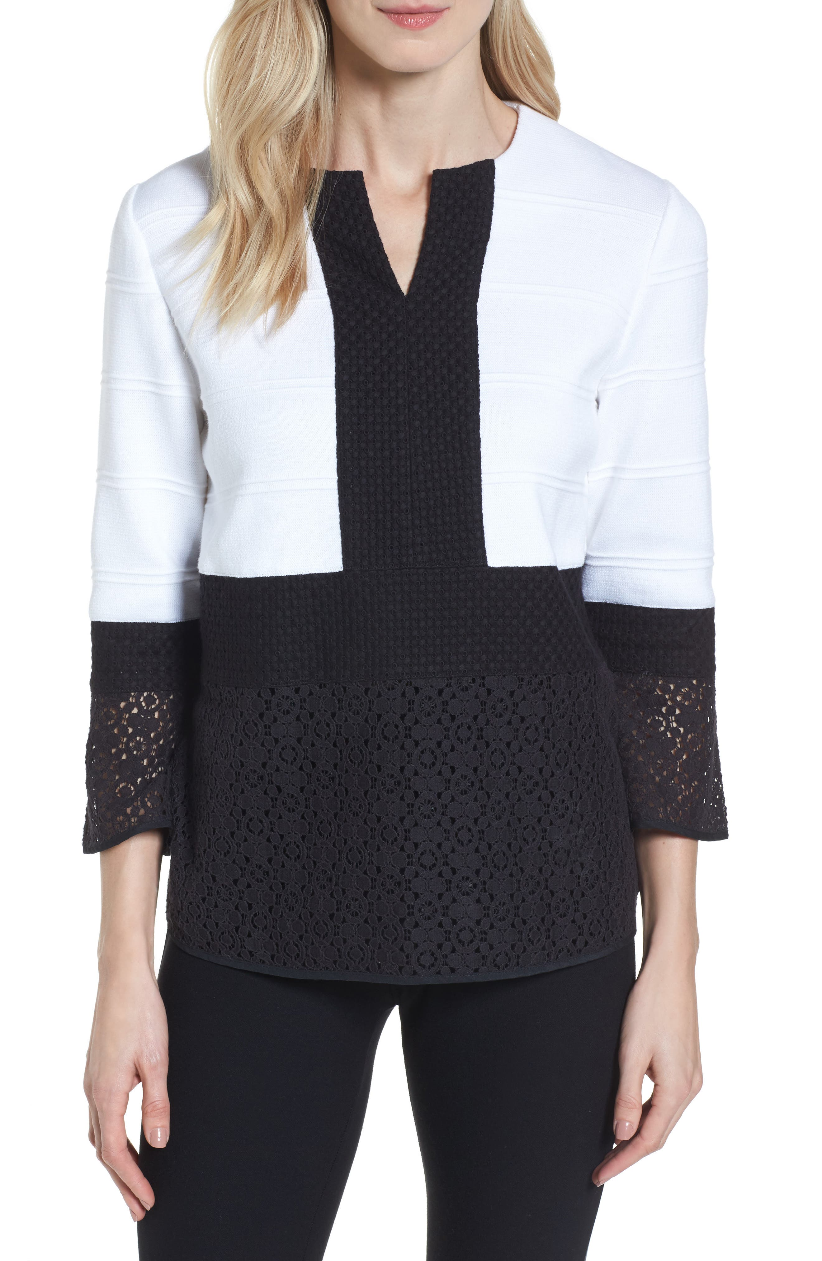 Knit & Lace Tunic,                         Main,                         color, White/ Black