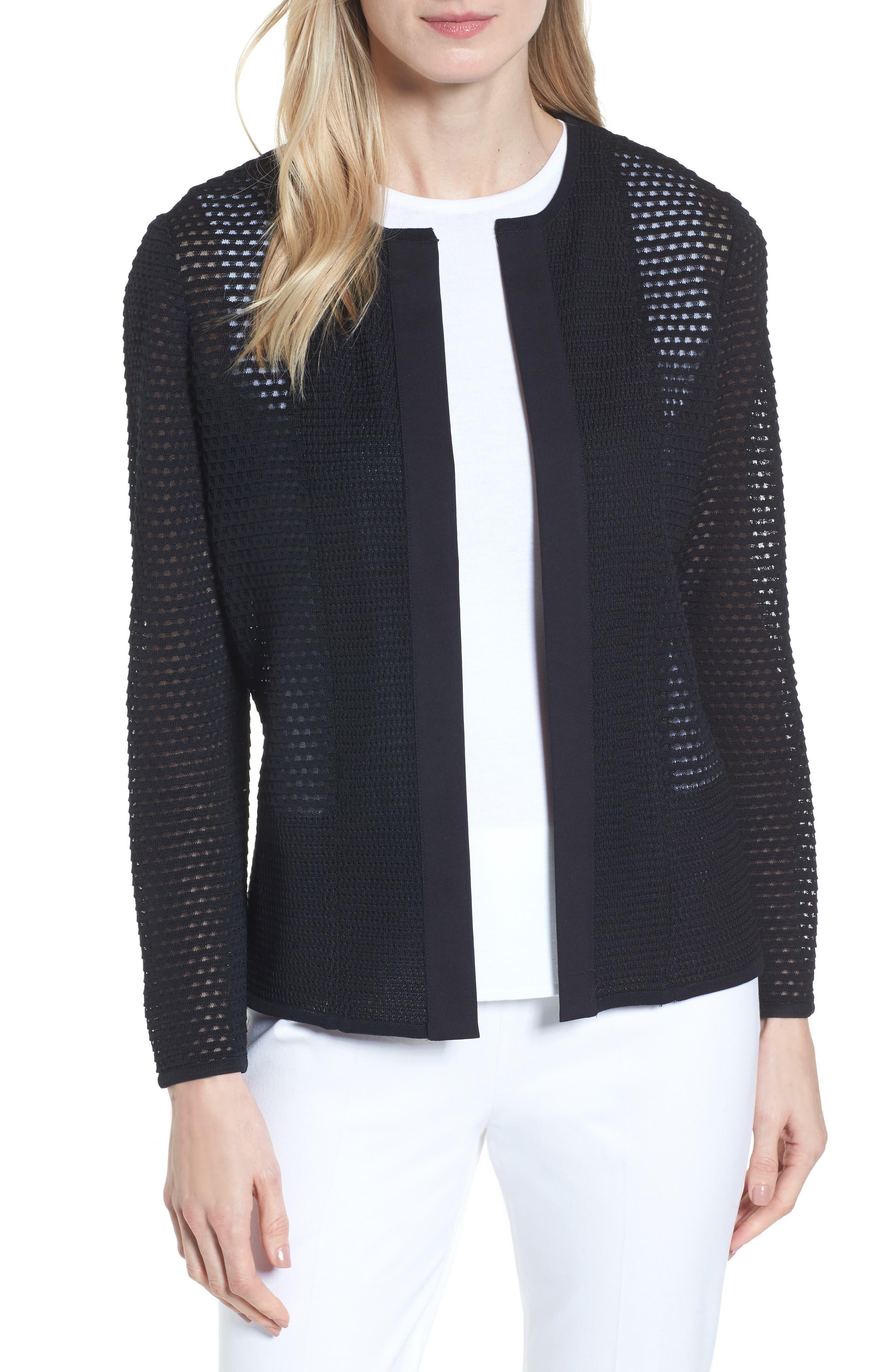Open Stitch Sweater Jacket,                         Main,                         color, Black