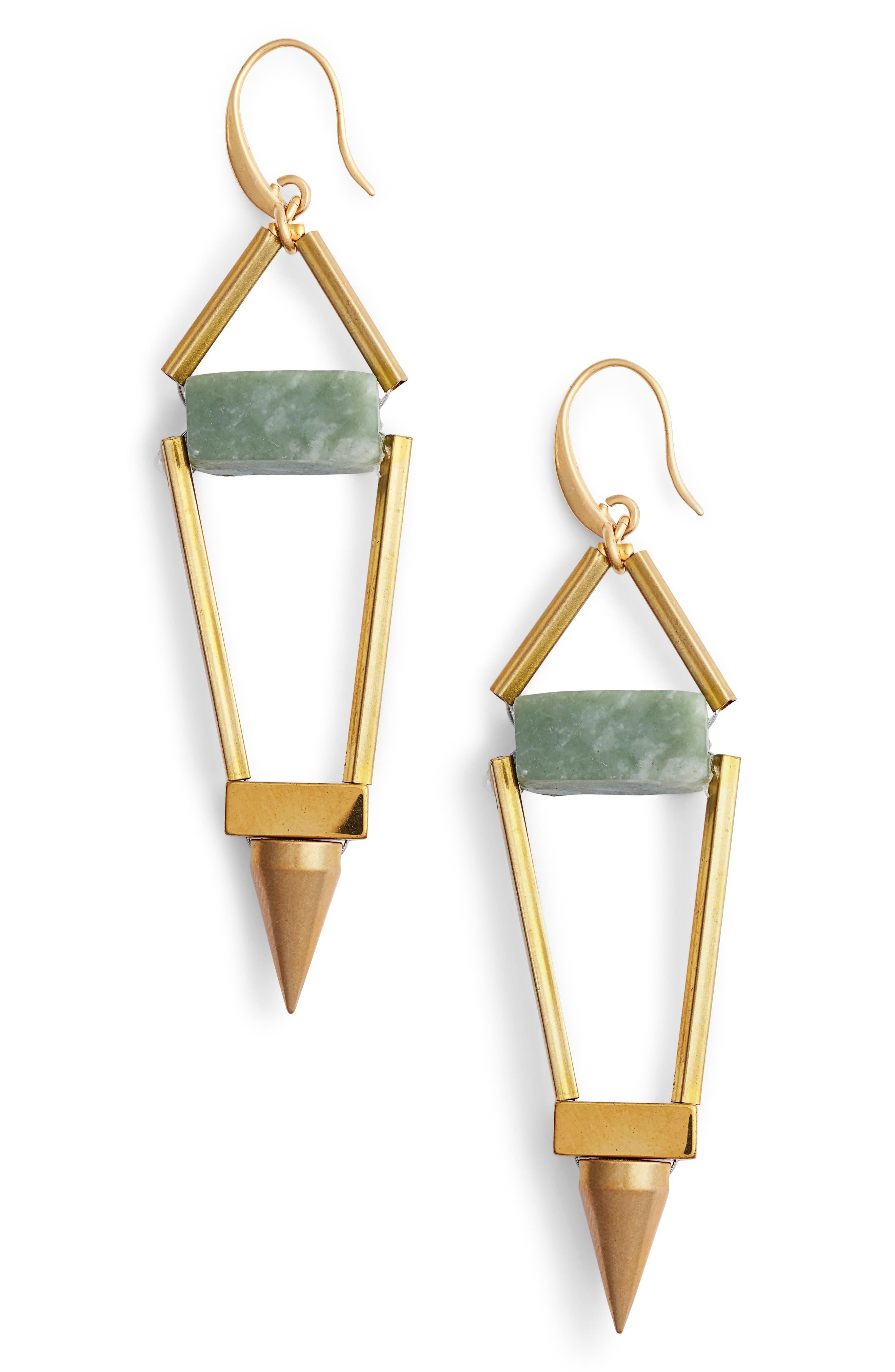 Odele Spike Drop Earrings,                         Main,                         color, Green/ Gold